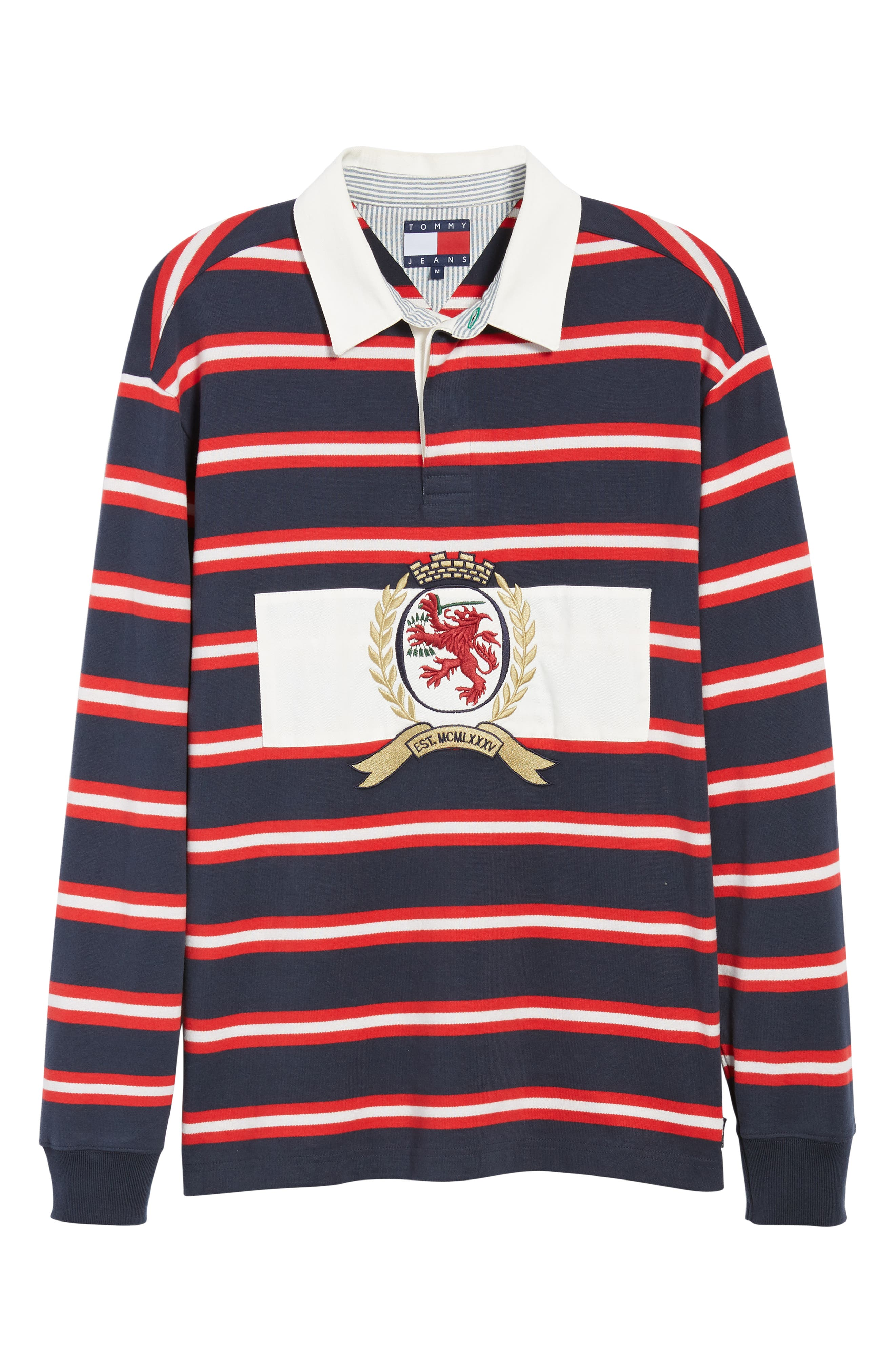 Crest Stripe Rugby Polo,                             Alternate thumbnail 6, color,                             DARK SAPPHIRE / MULTI
