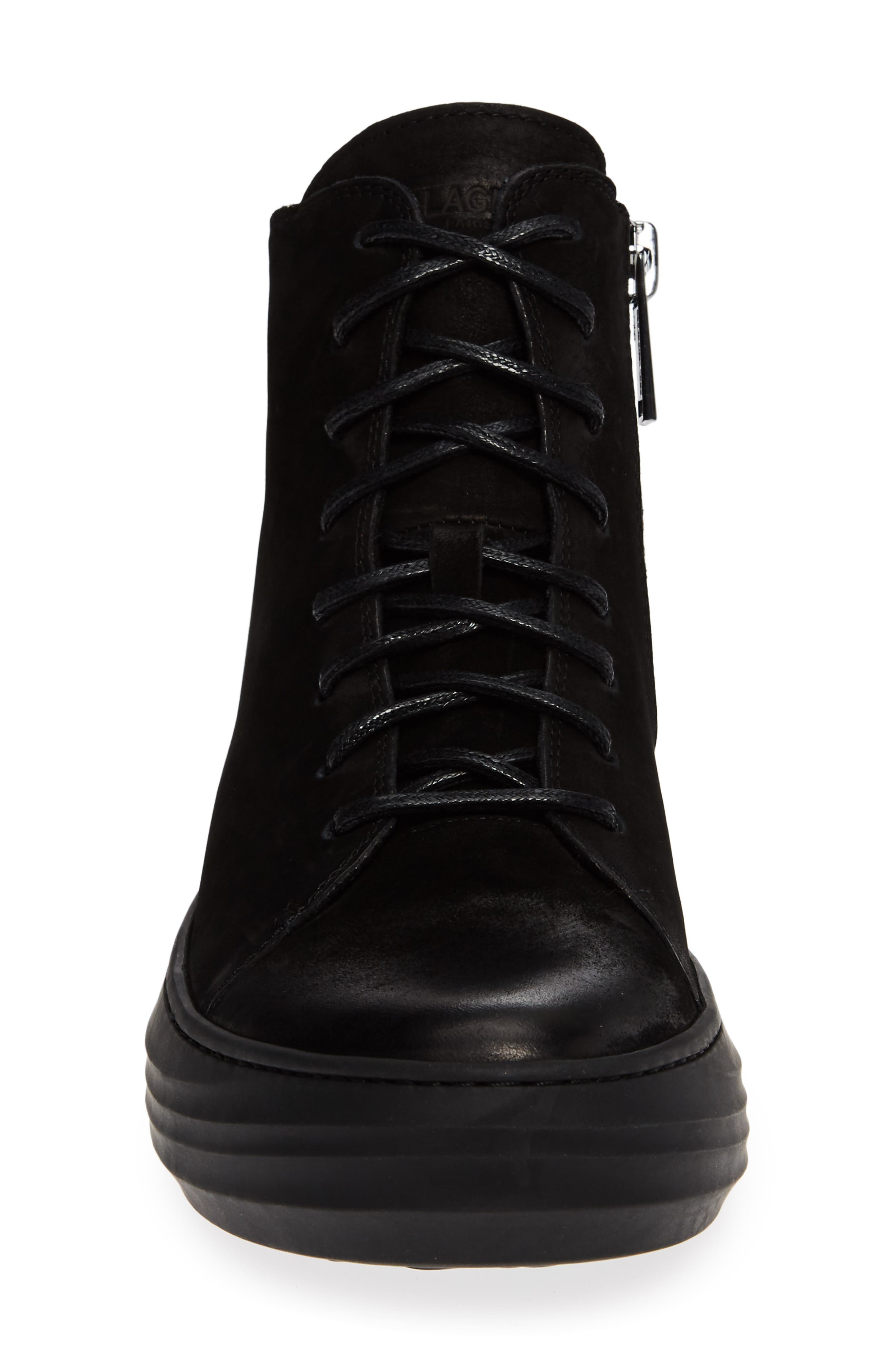High Top Sneaker,                             Alternate thumbnail 4, color,                             BLACK LEATHER