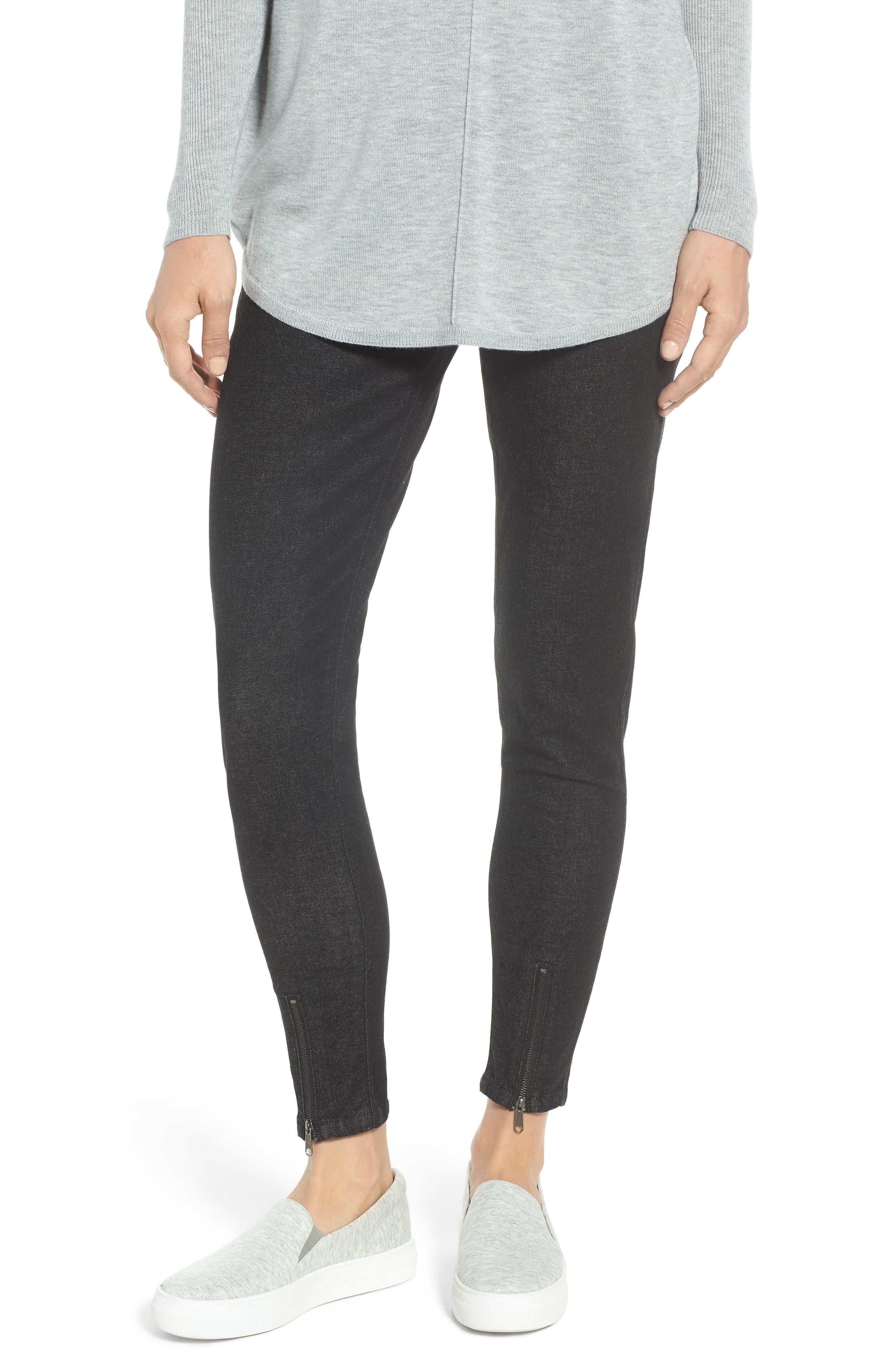 Ankle Zip Denim Leggings,                         Main,                         color, BLACK