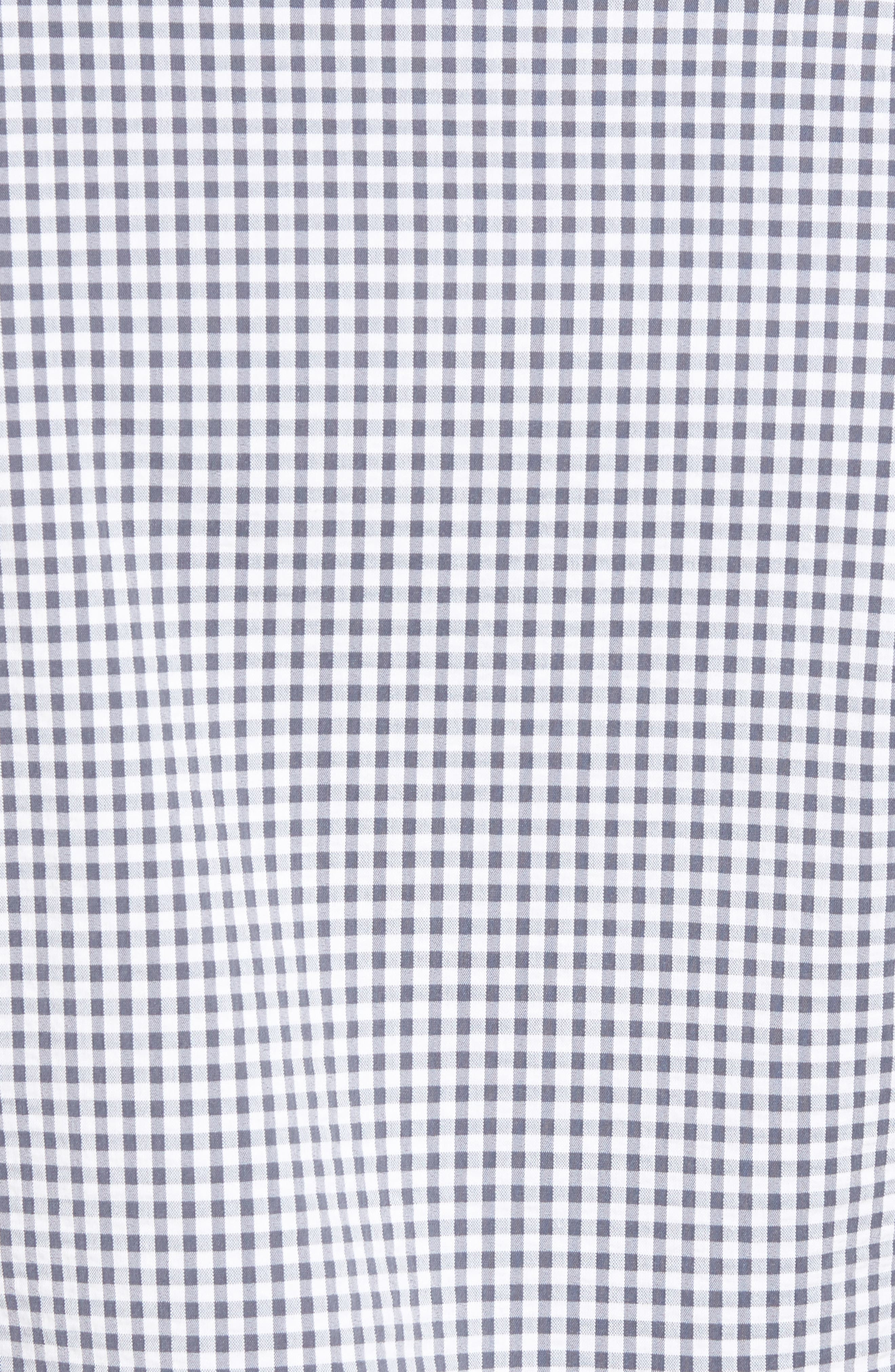 Harrison Seersucker Check Performance Sport Shirt,                             Alternate thumbnail 5, color,                             NAVY