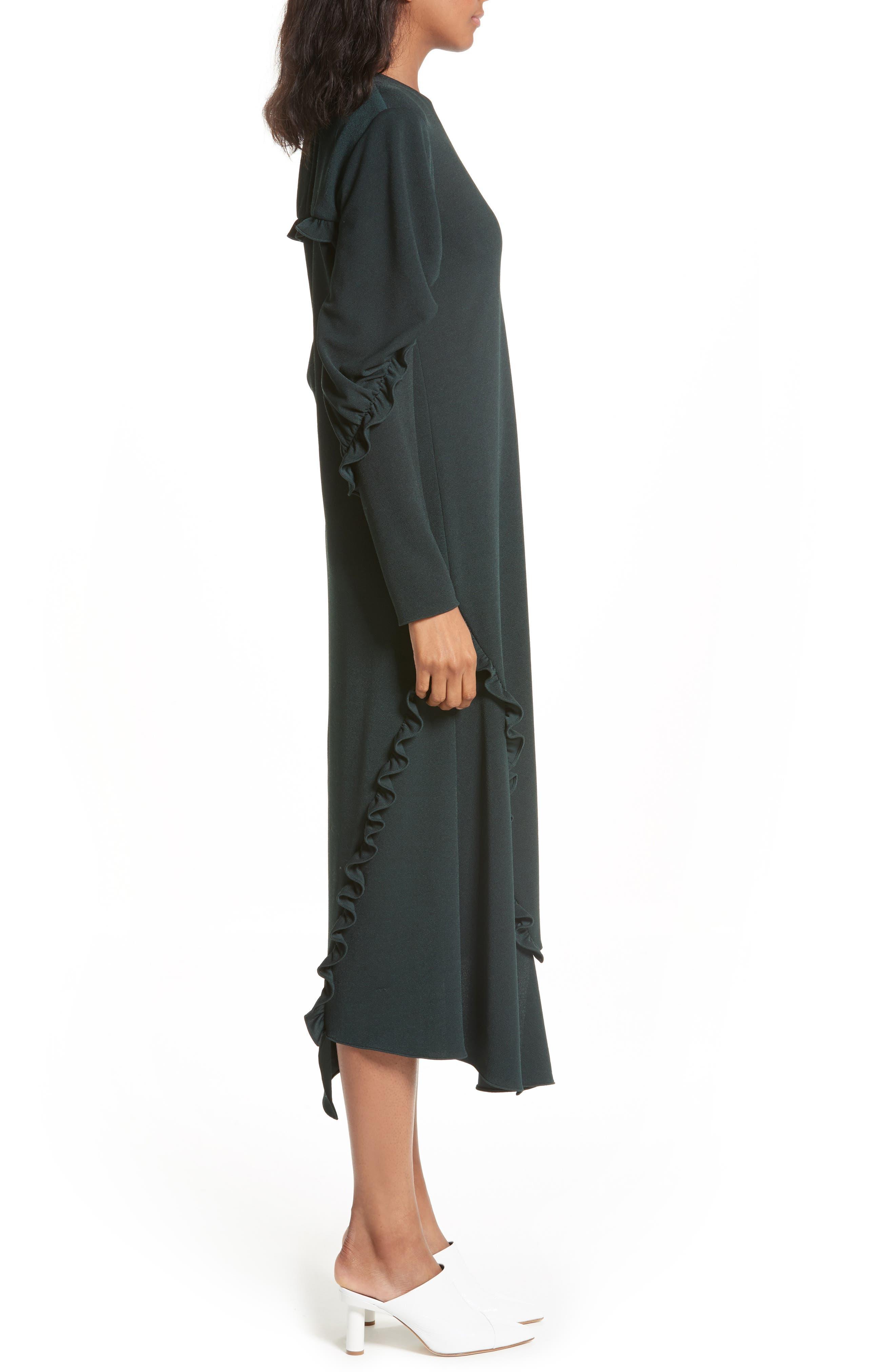 Ruffled Crepe Knit Midi Dress,                             Alternate thumbnail 3, color,                             303