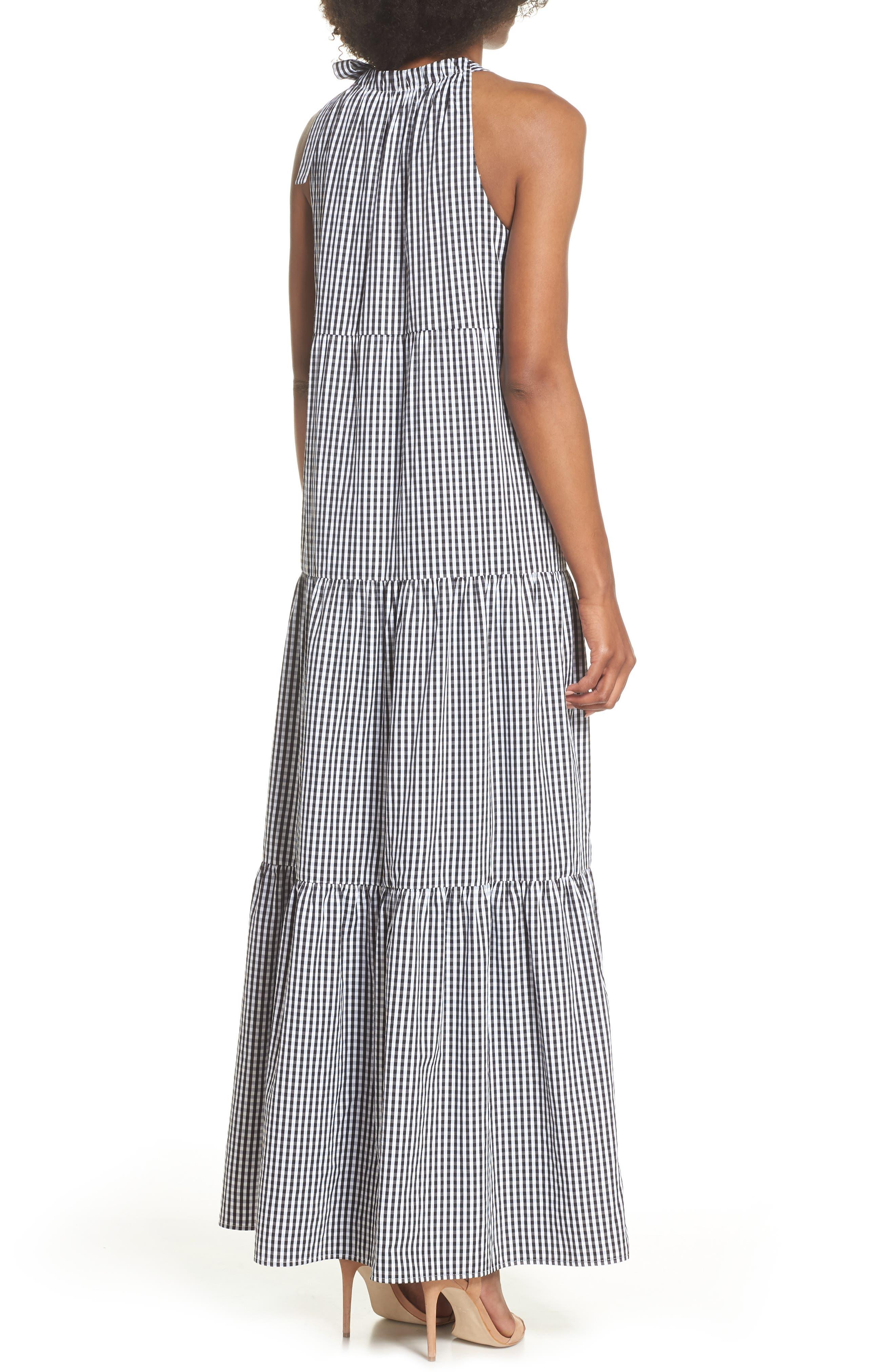 Gingham Check Maxi Dress,                             Alternate thumbnail 2, color,                             100