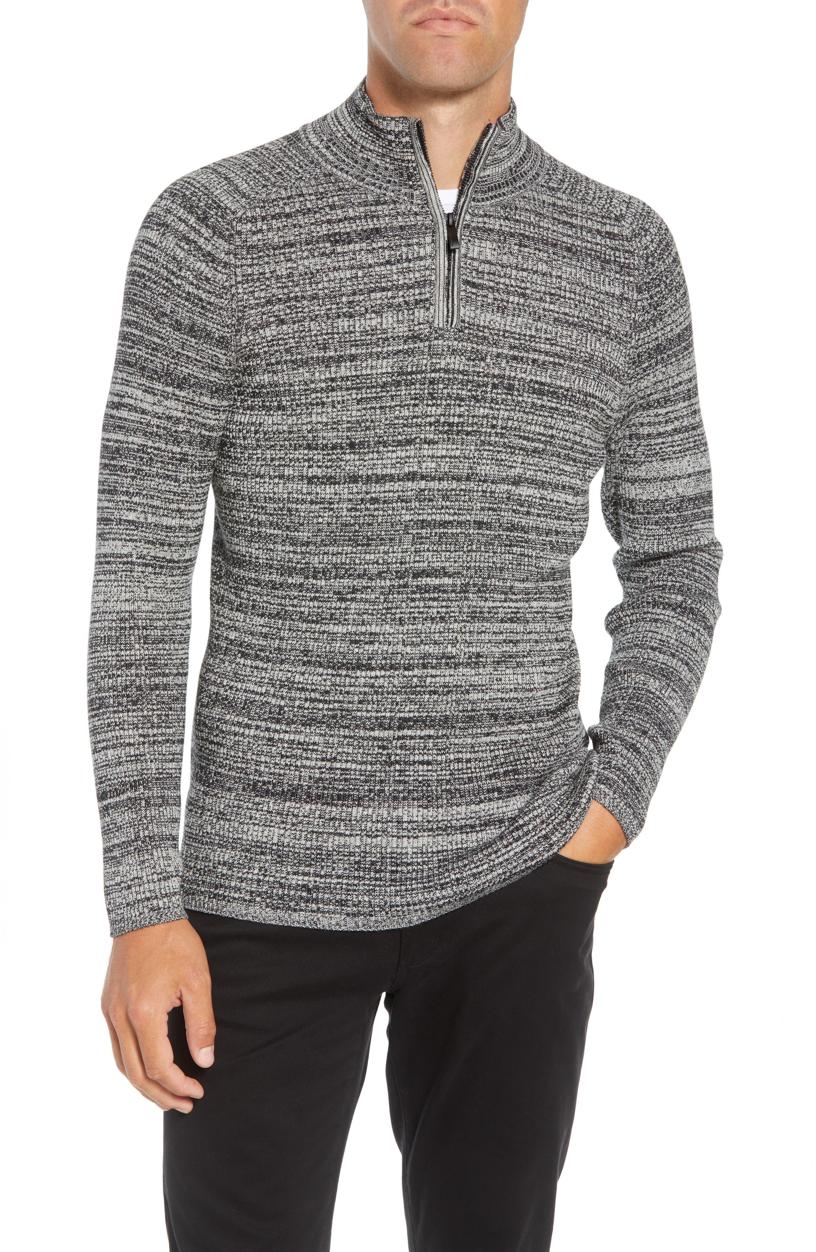 Vince Caumto Quarter Zip Mock Neck Sweater, Grey