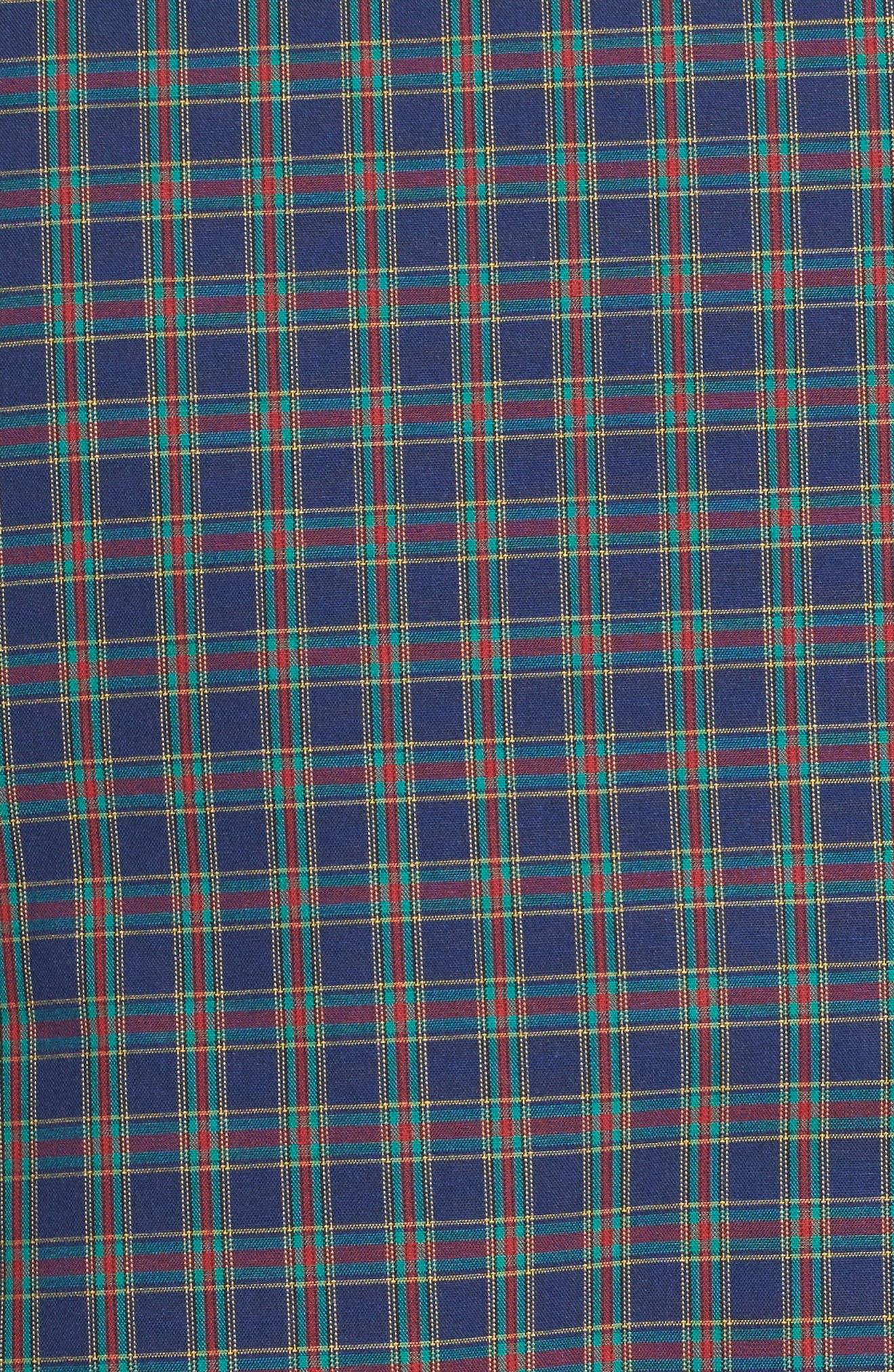 Trim Fit Non-Iron Plaid Sport Shirt,                             Alternate thumbnail 5, color,                             410