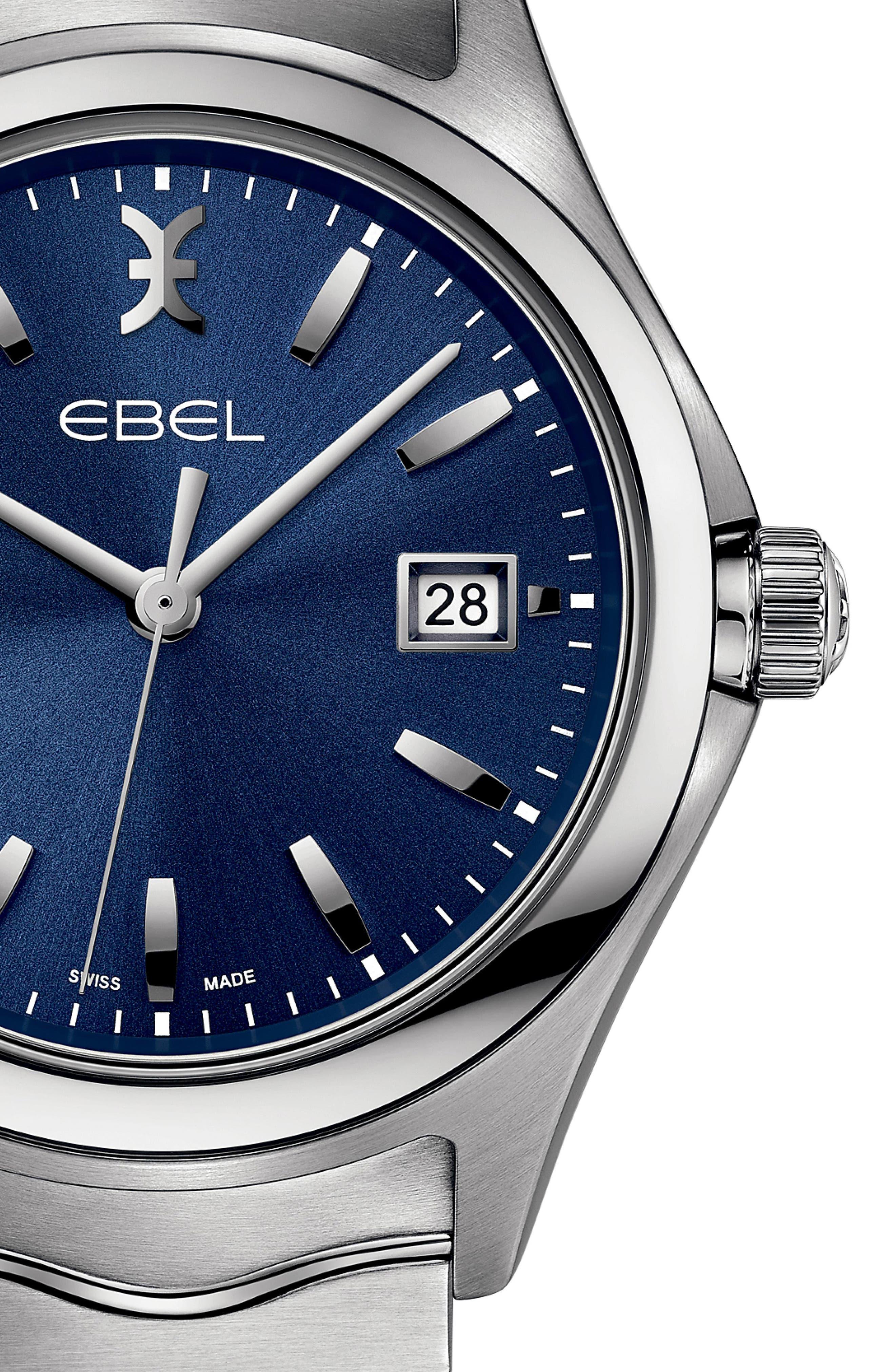 Wave Bracelet Watch, 40mm,                             Alternate thumbnail 3, color,                             SILVER/ BLUE/ SILVER