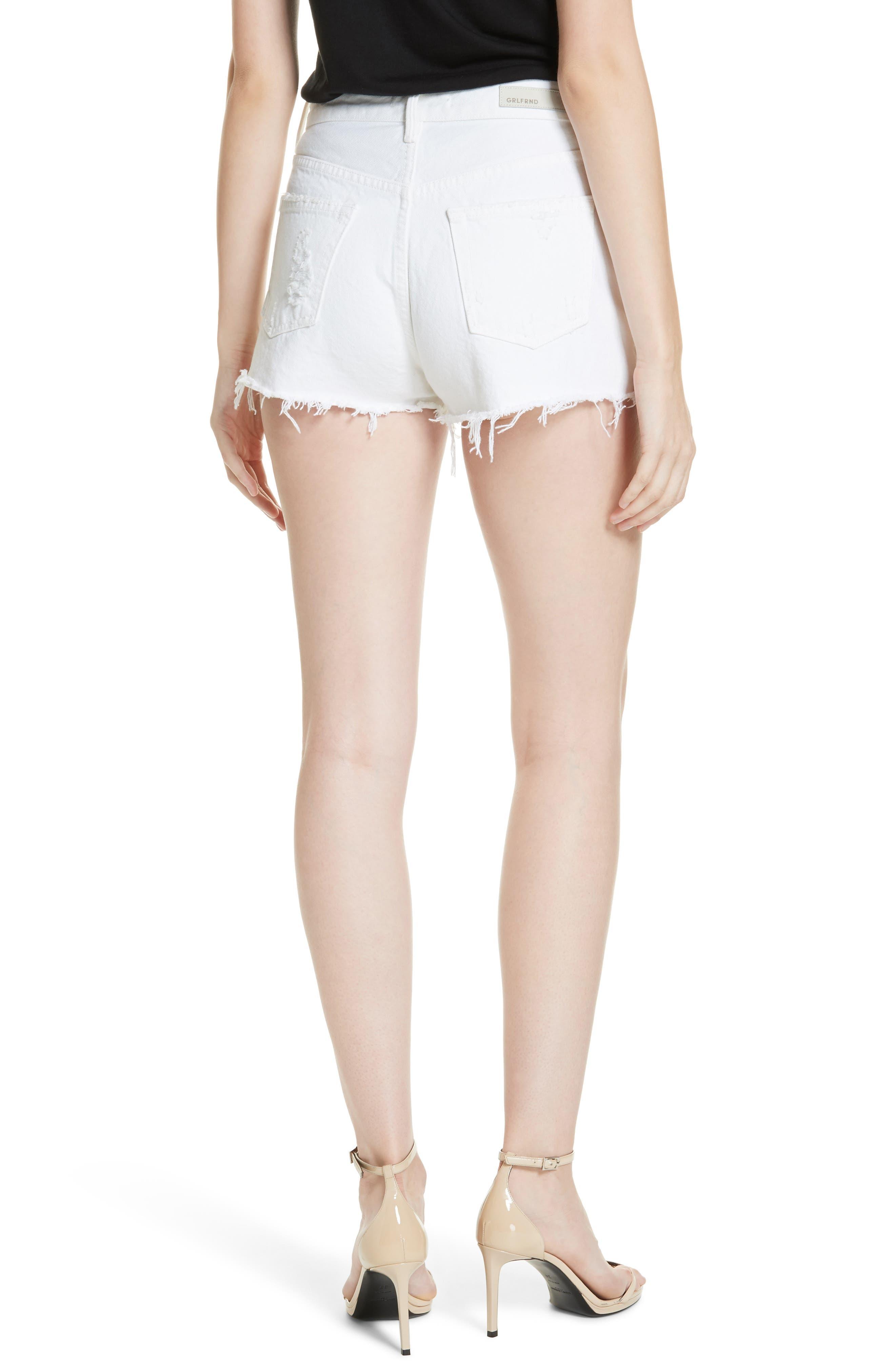 Cindy Rigid High Waist Denim Shorts,                             Alternate thumbnail 2, color,                             GRANADA