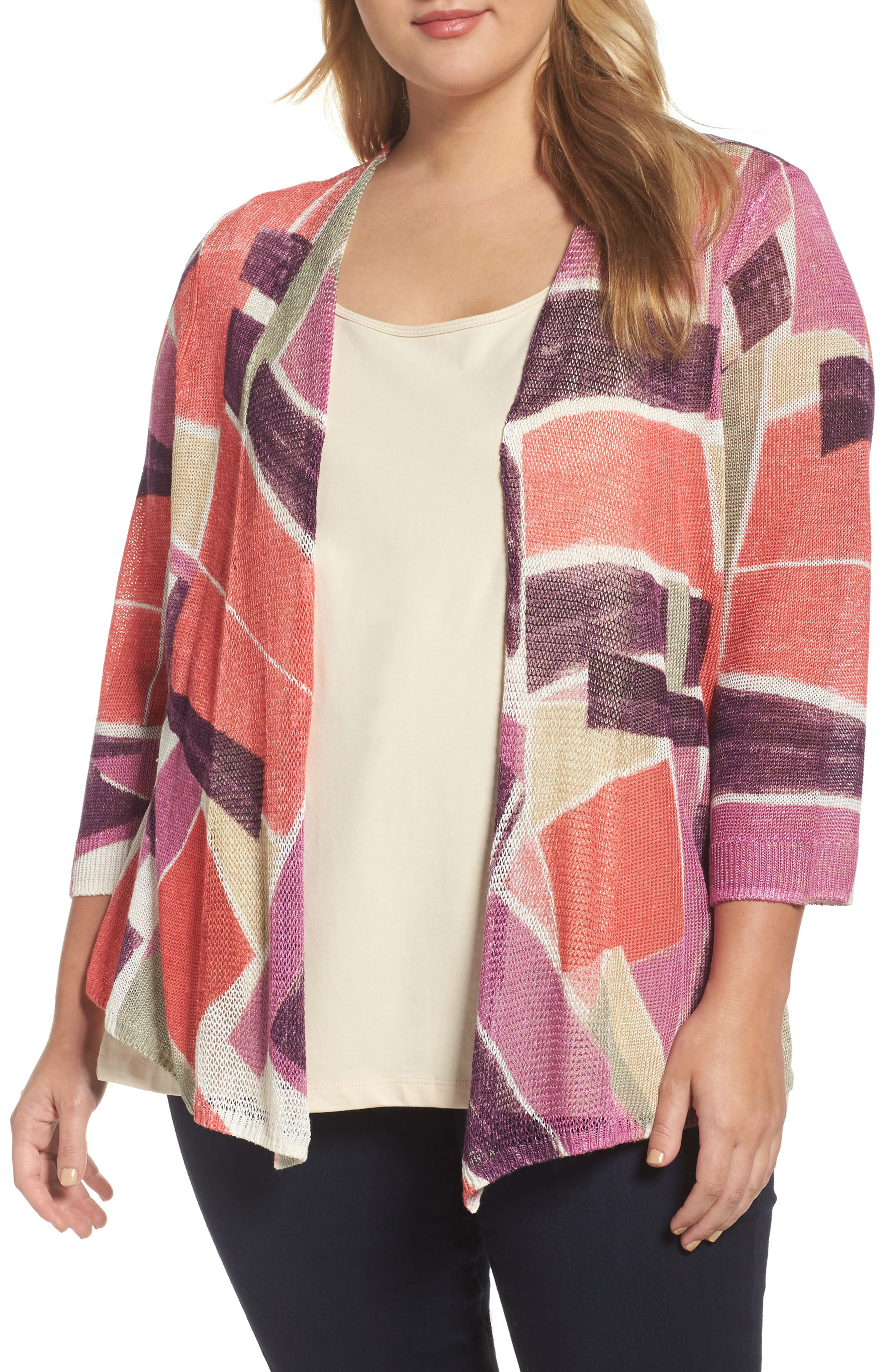 Bold Blocked Drape Front Cardigan,                             Main thumbnail 1, color,                             MULTI