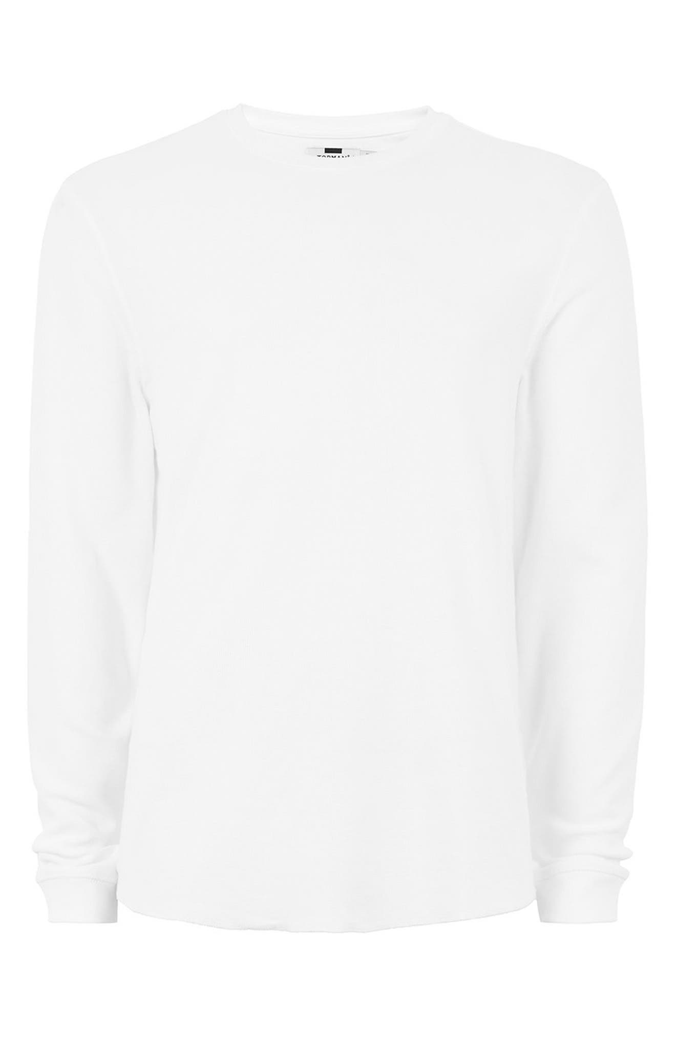 Waffle Knit Long Sleeve T-Shirt,                             Alternate thumbnail 4, color,                             100