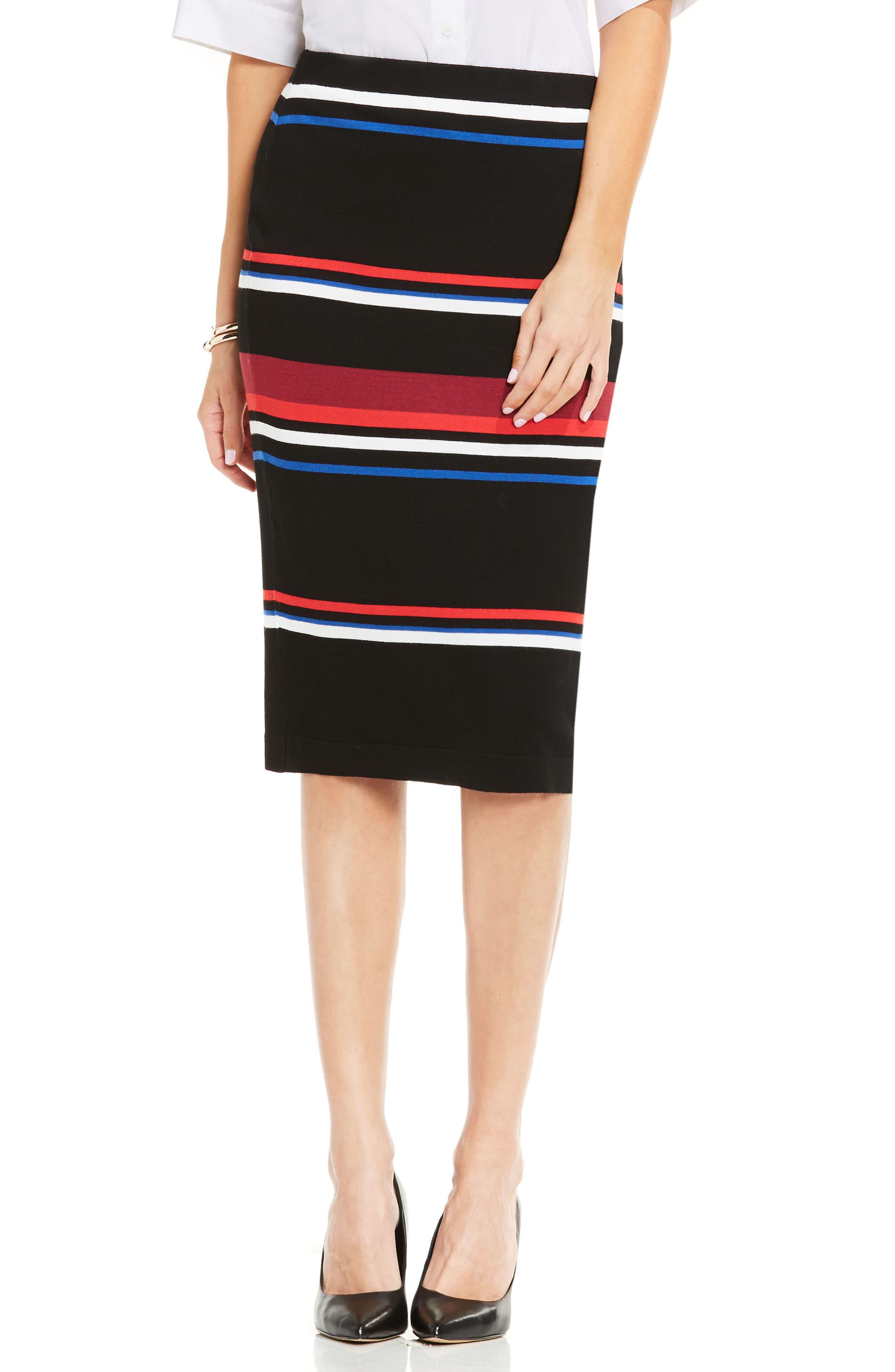 Stripe Pencil Skirt,                             Main thumbnail 1, color,                             006