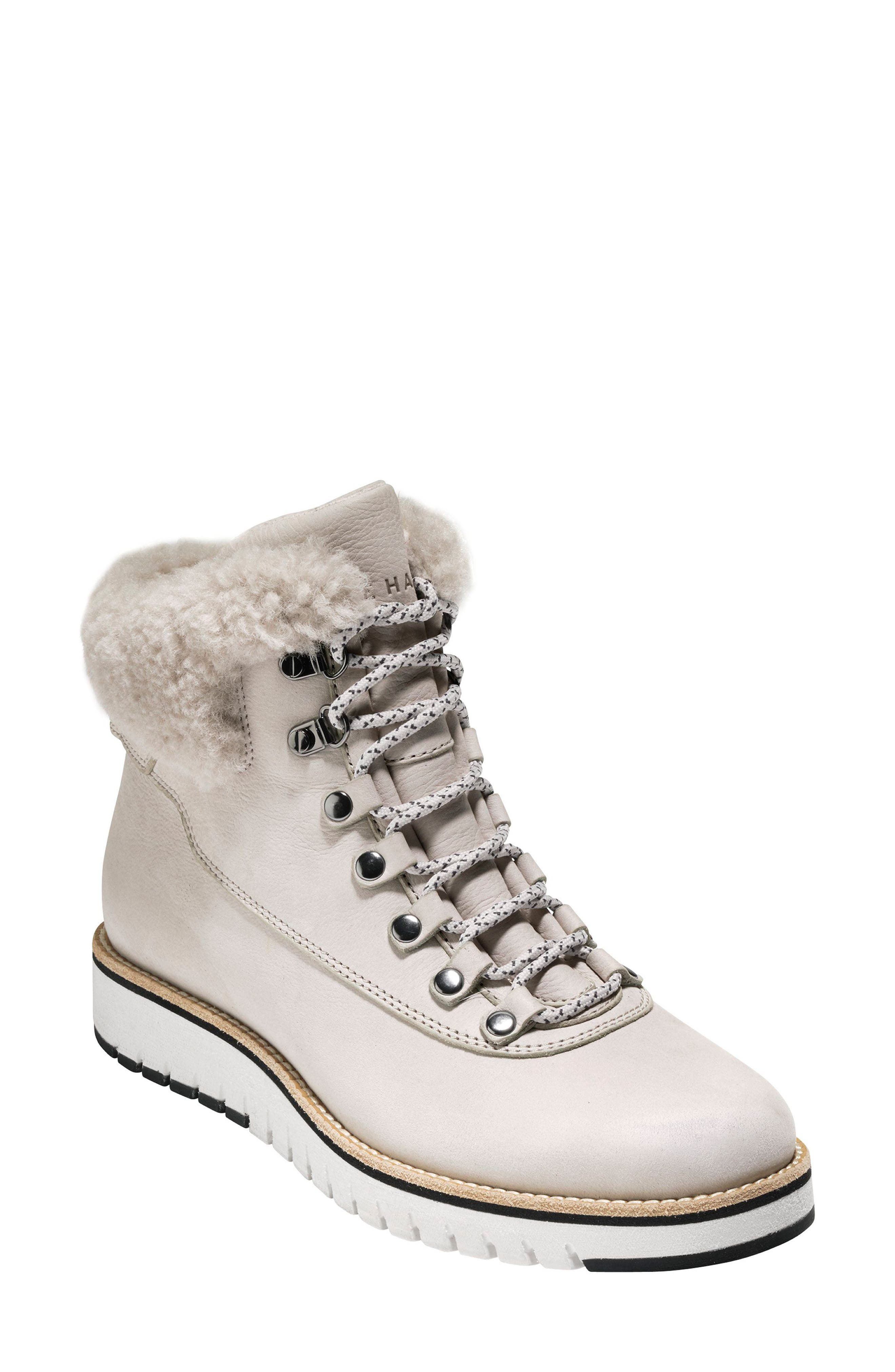 GrandExpløre Genuine Shearling Trim Waterproof Hiker Boot,                         Main,                         color, PUMICE STONE NUBUCK