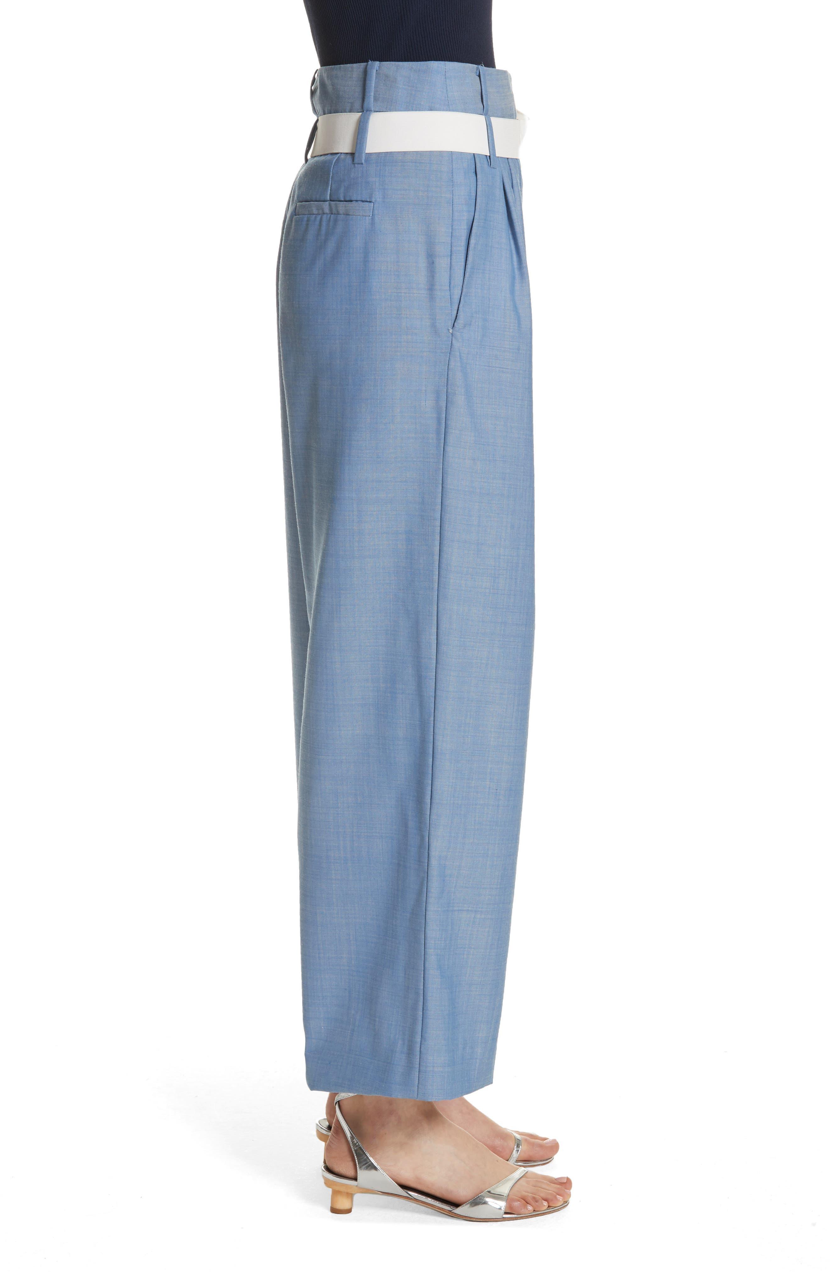 Belted Wide Leg Crop Pants,                             Alternate thumbnail 3, color,
