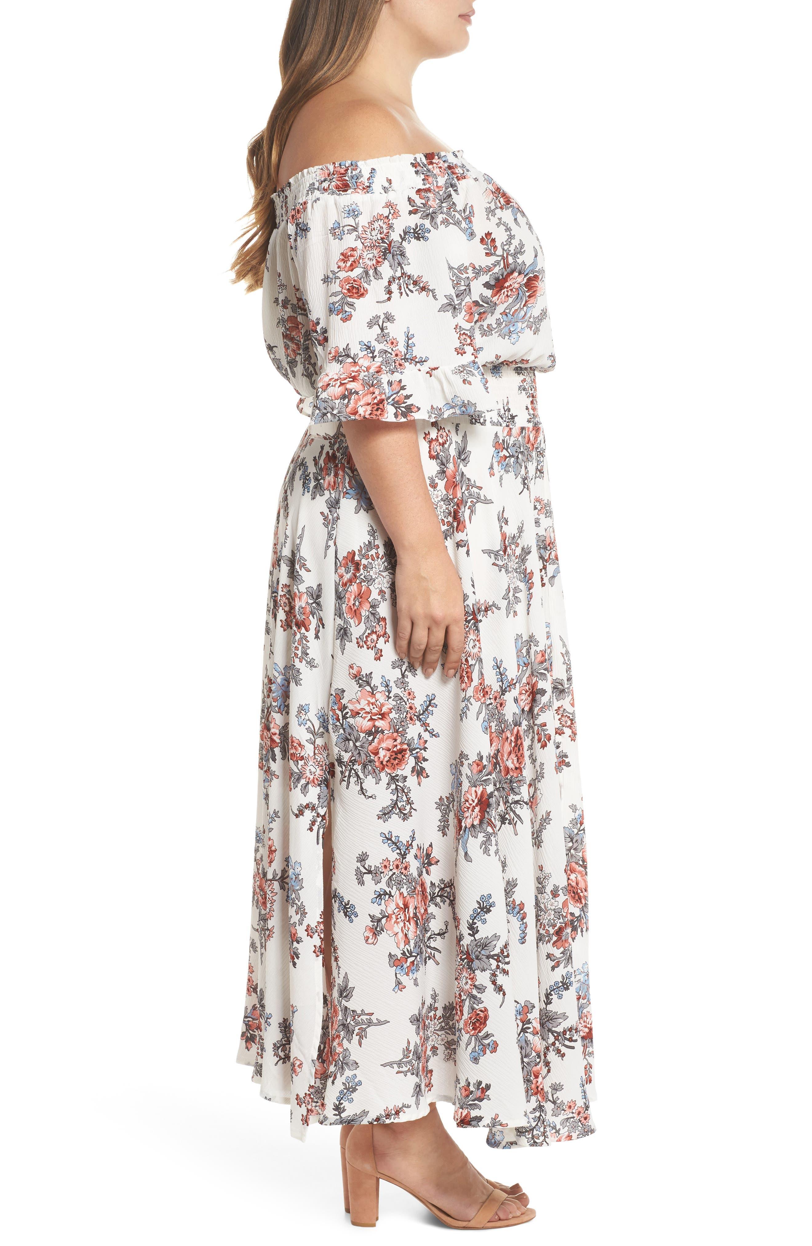 Print Off-the-Shoulder Maxi Dress,                             Alternate thumbnail 3, color,                             100