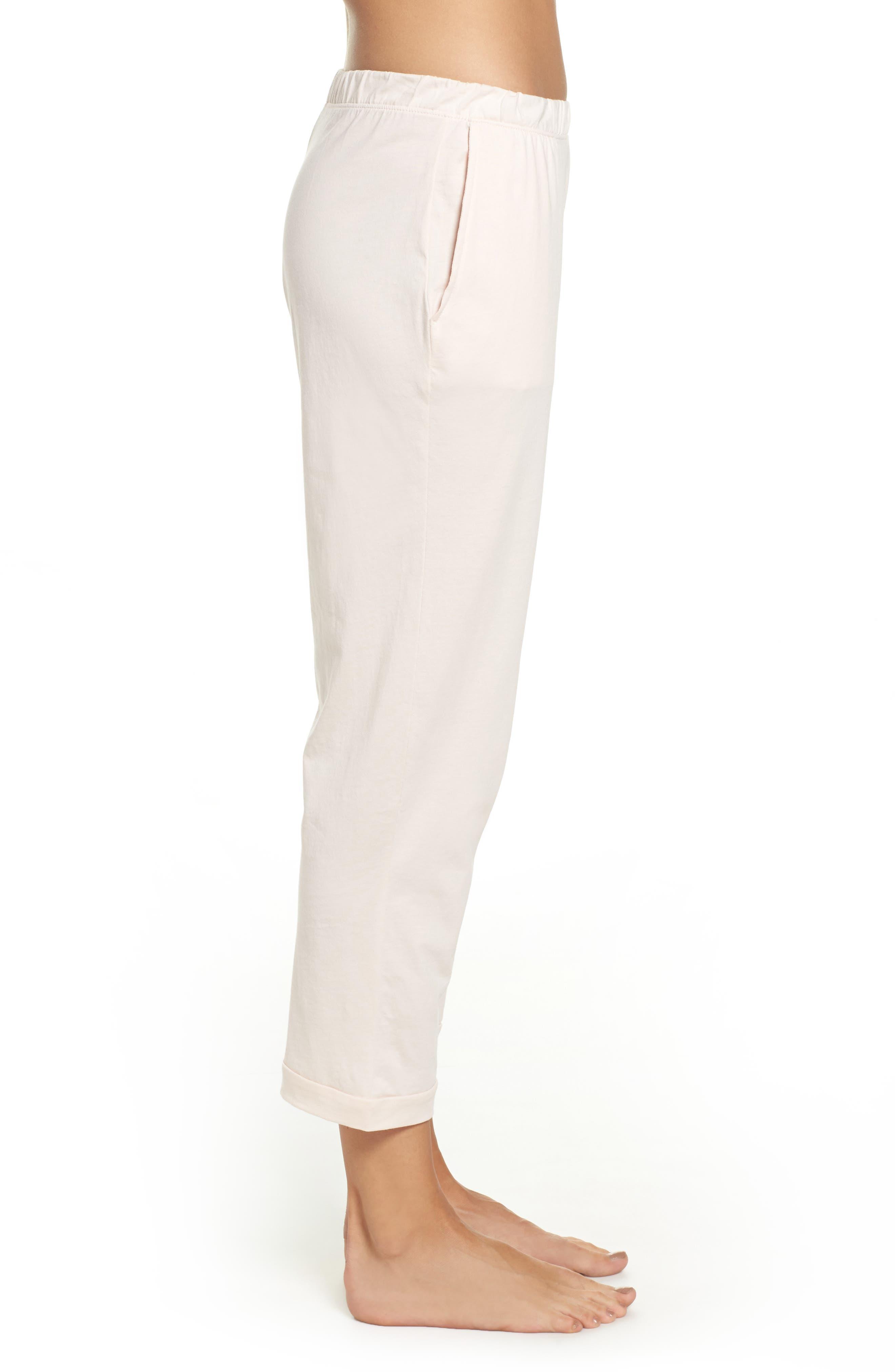 Parisa Crop Pima Cotton Lounge Pants,                             Alternate thumbnail 3, color,                             689