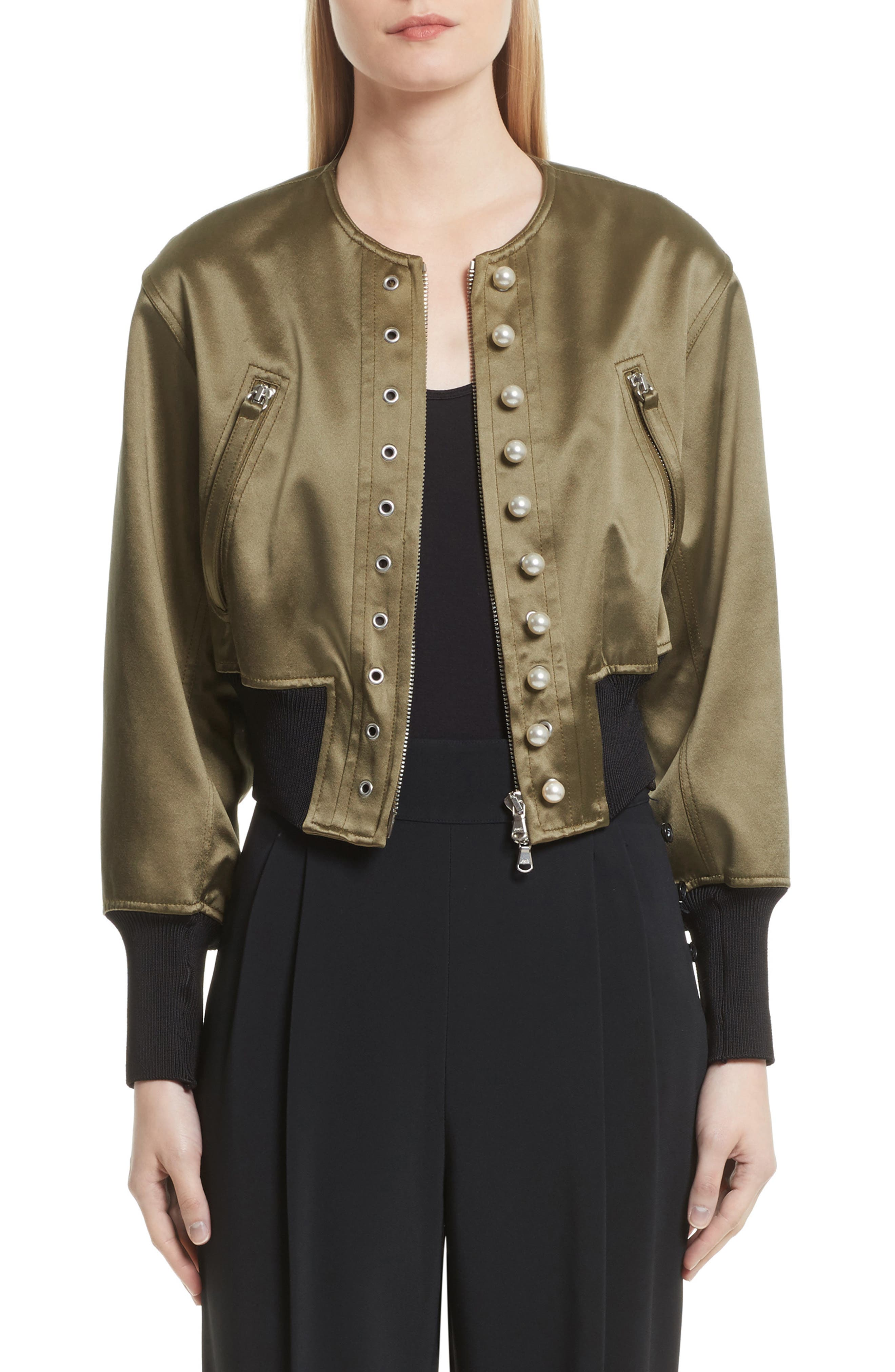 Grommet & Faux Pearl Embellished Bomber Jacket,                             Main thumbnail 1, color,                             301