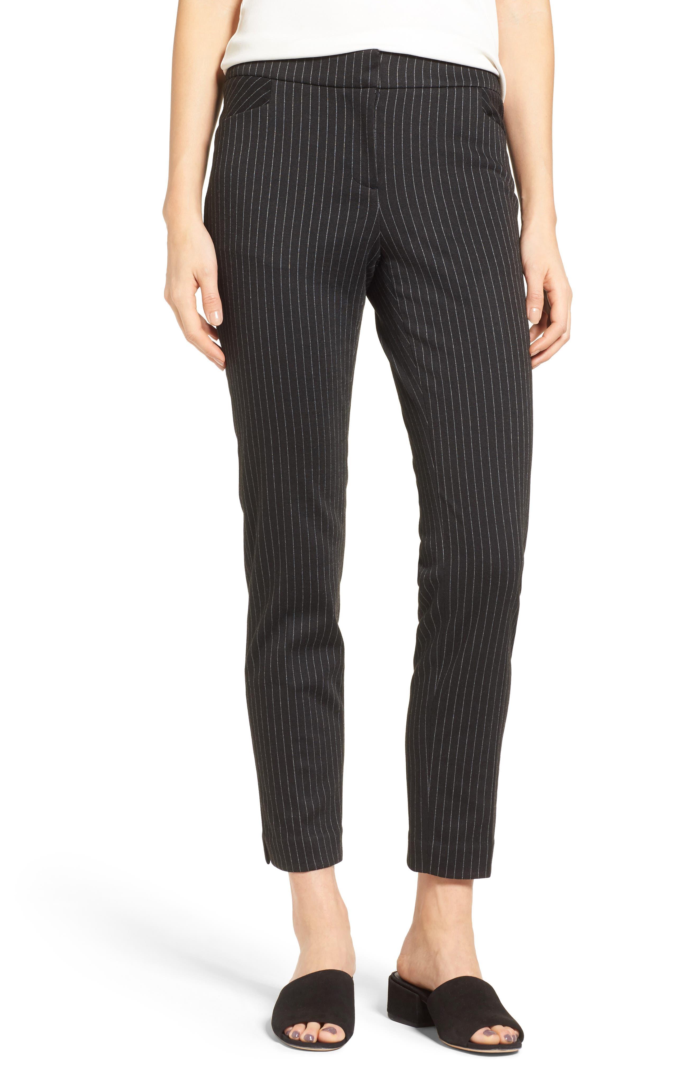 Pinstripe Ankle Pants, Main, color, 001