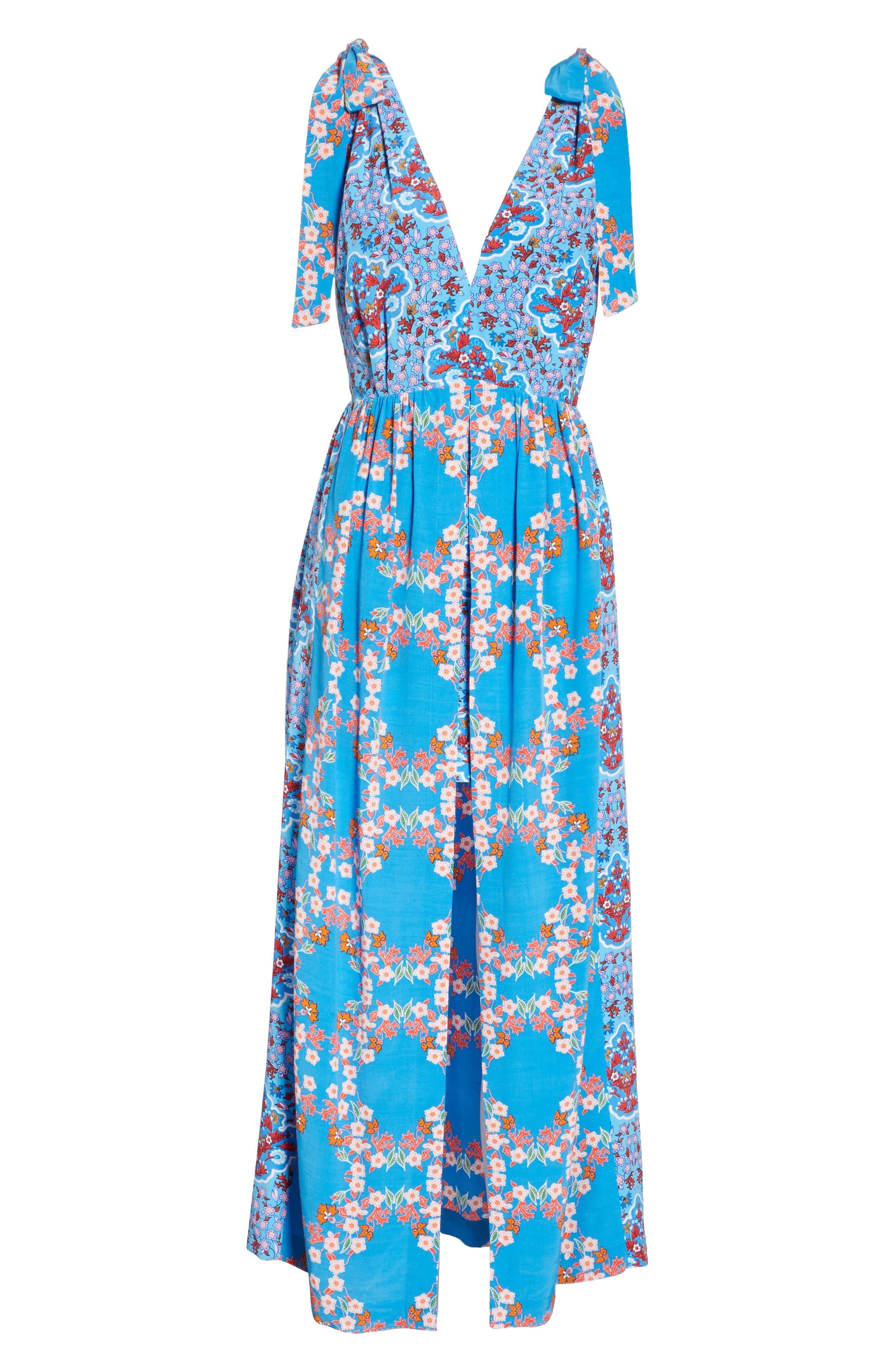 Floral Plunging Slit Dress,                             Alternate thumbnail 7, color,                             400