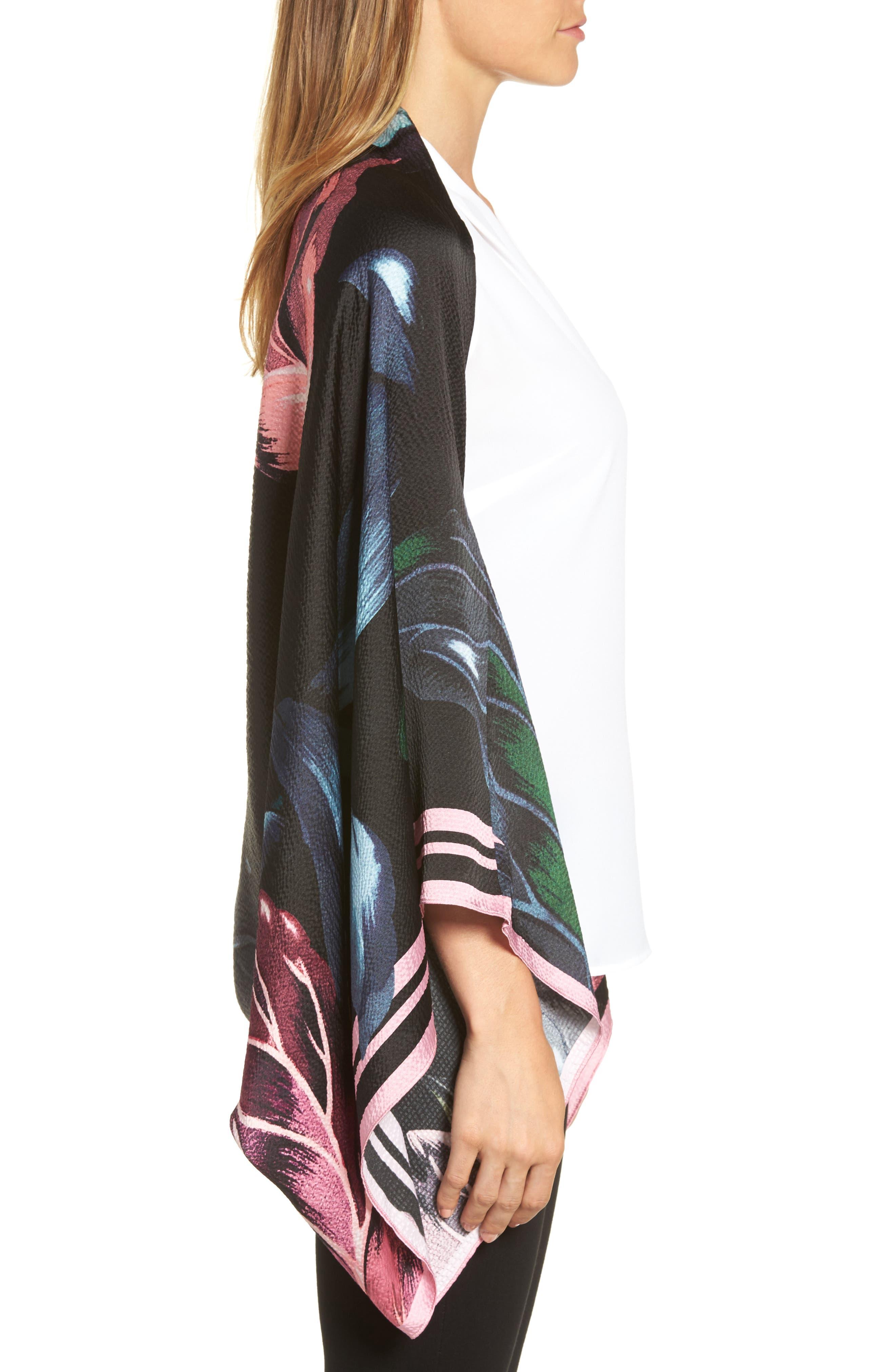 Eden Silk Cape Scarf,                             Alternate thumbnail 3, color,                             001