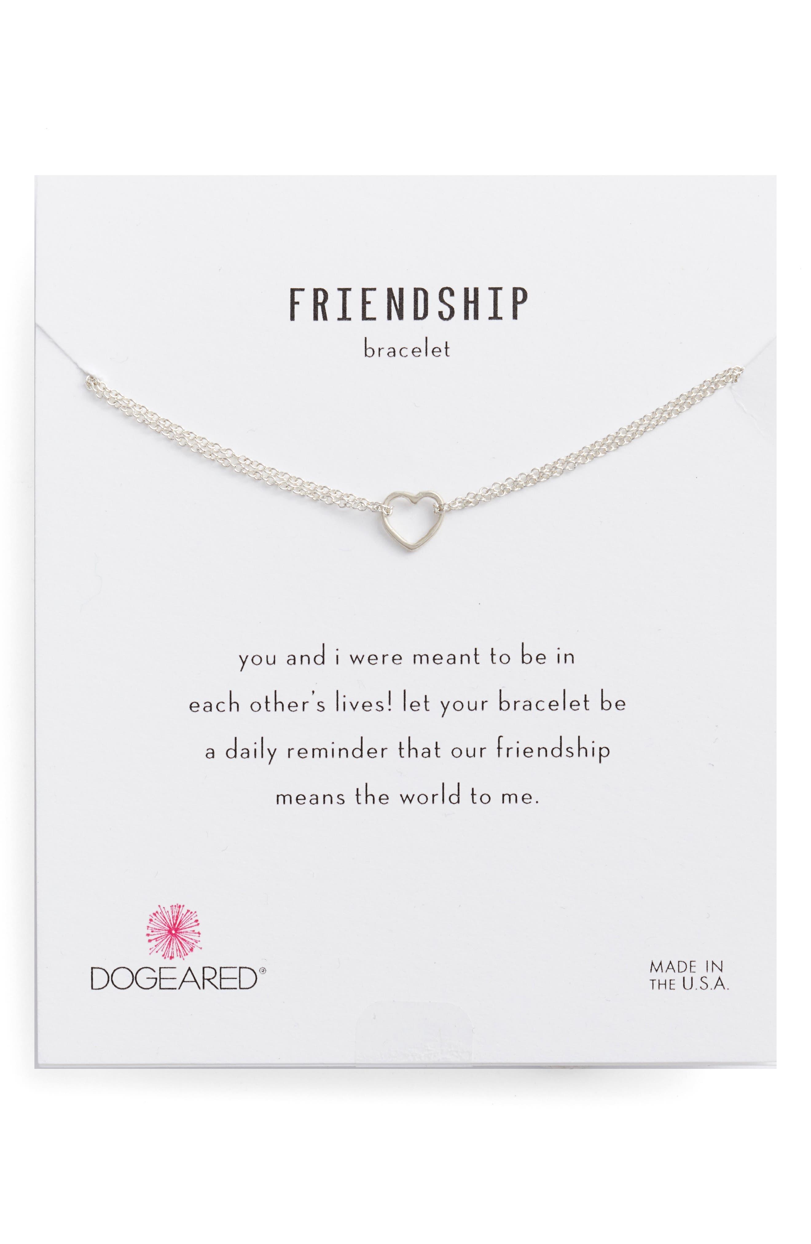 Friendship Small Open Heart Charm Chain Bracelet,                             Alternate thumbnail 2, color,                             040