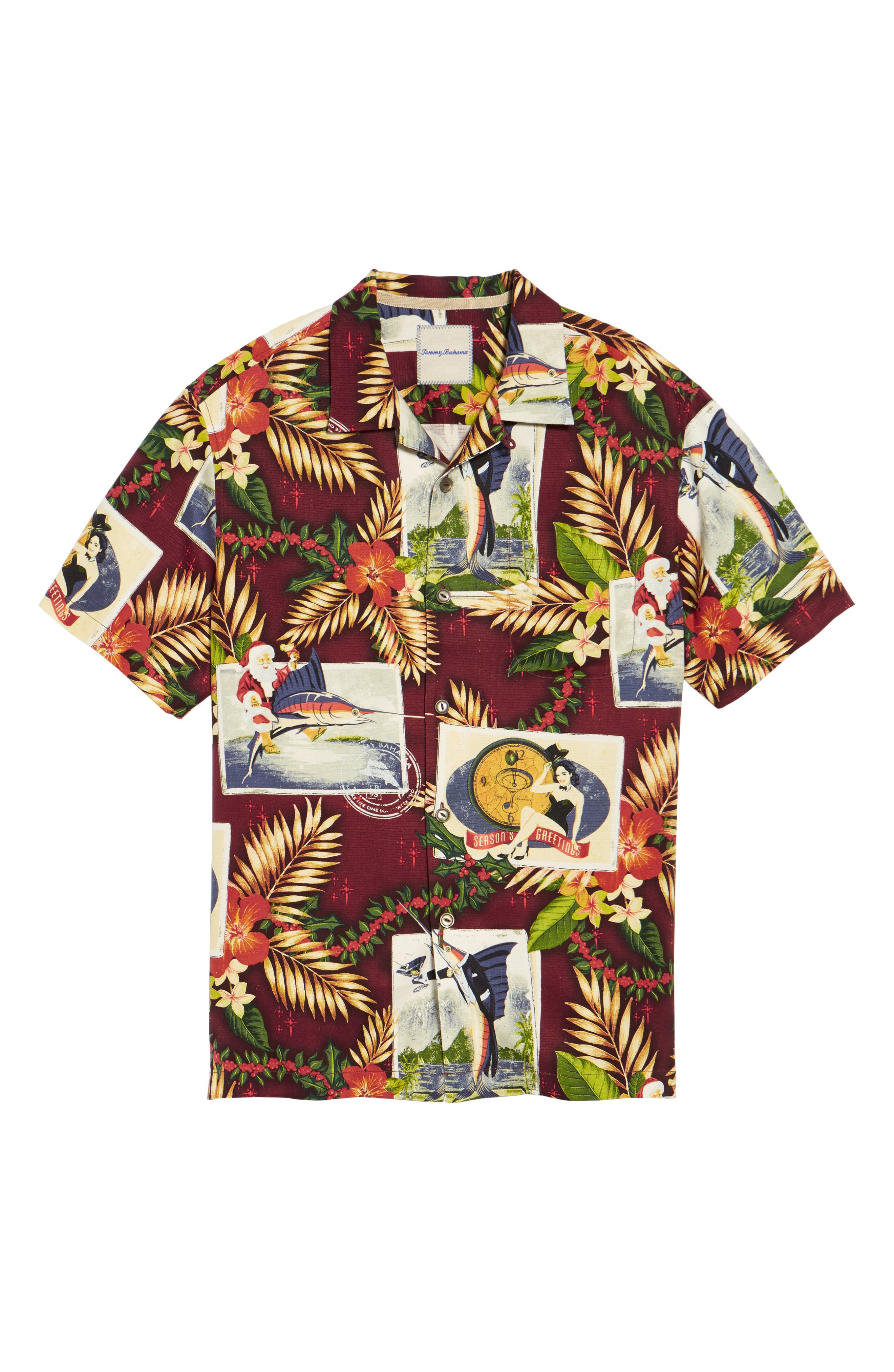 Tommy Holidays Silk Woven Shirt,                             Alternate thumbnail 12, color,