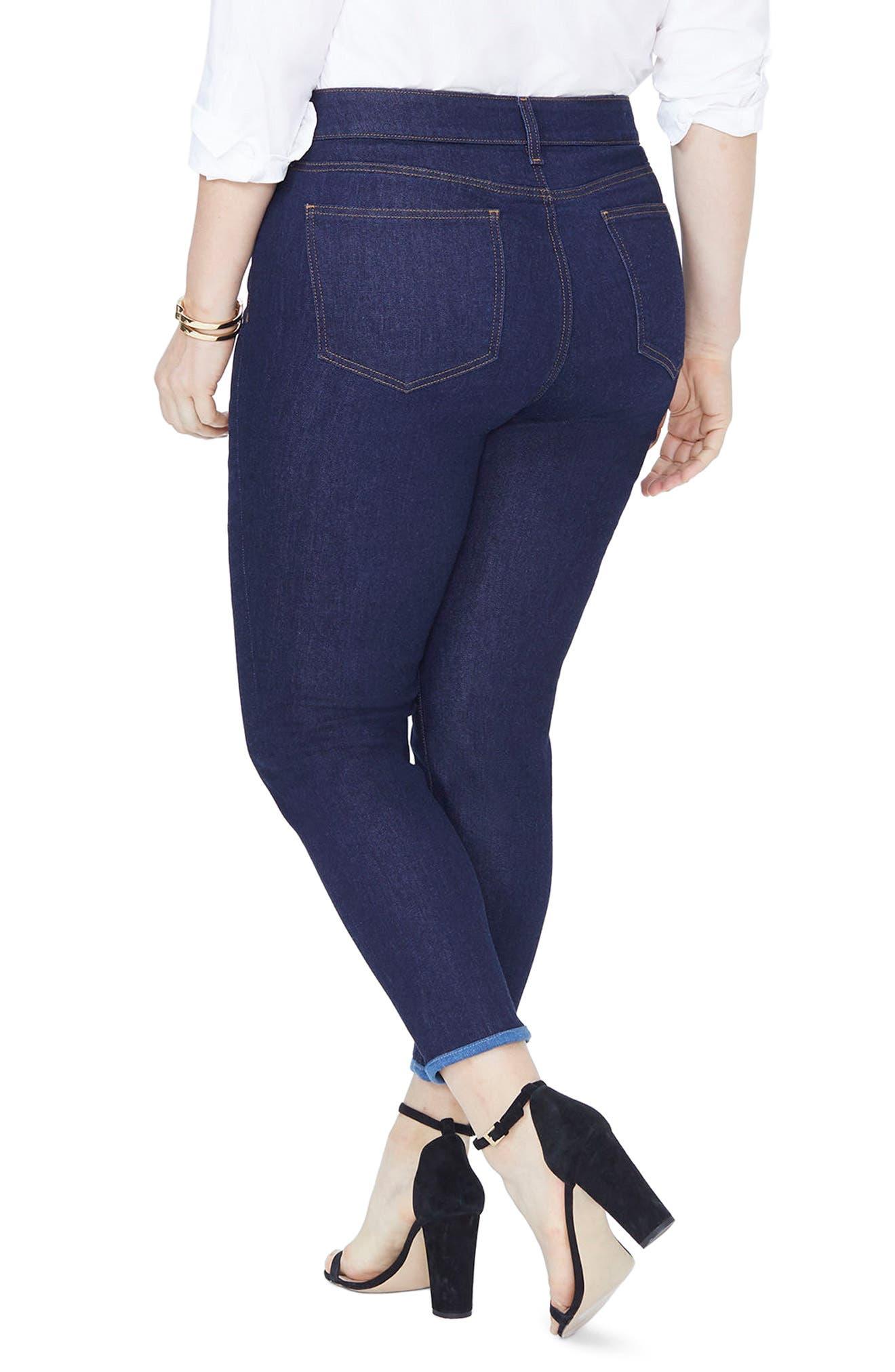 Alina Contrast Hem Ankle Skinny Jeans,                             Alternate thumbnail 2, color,                             RINSE