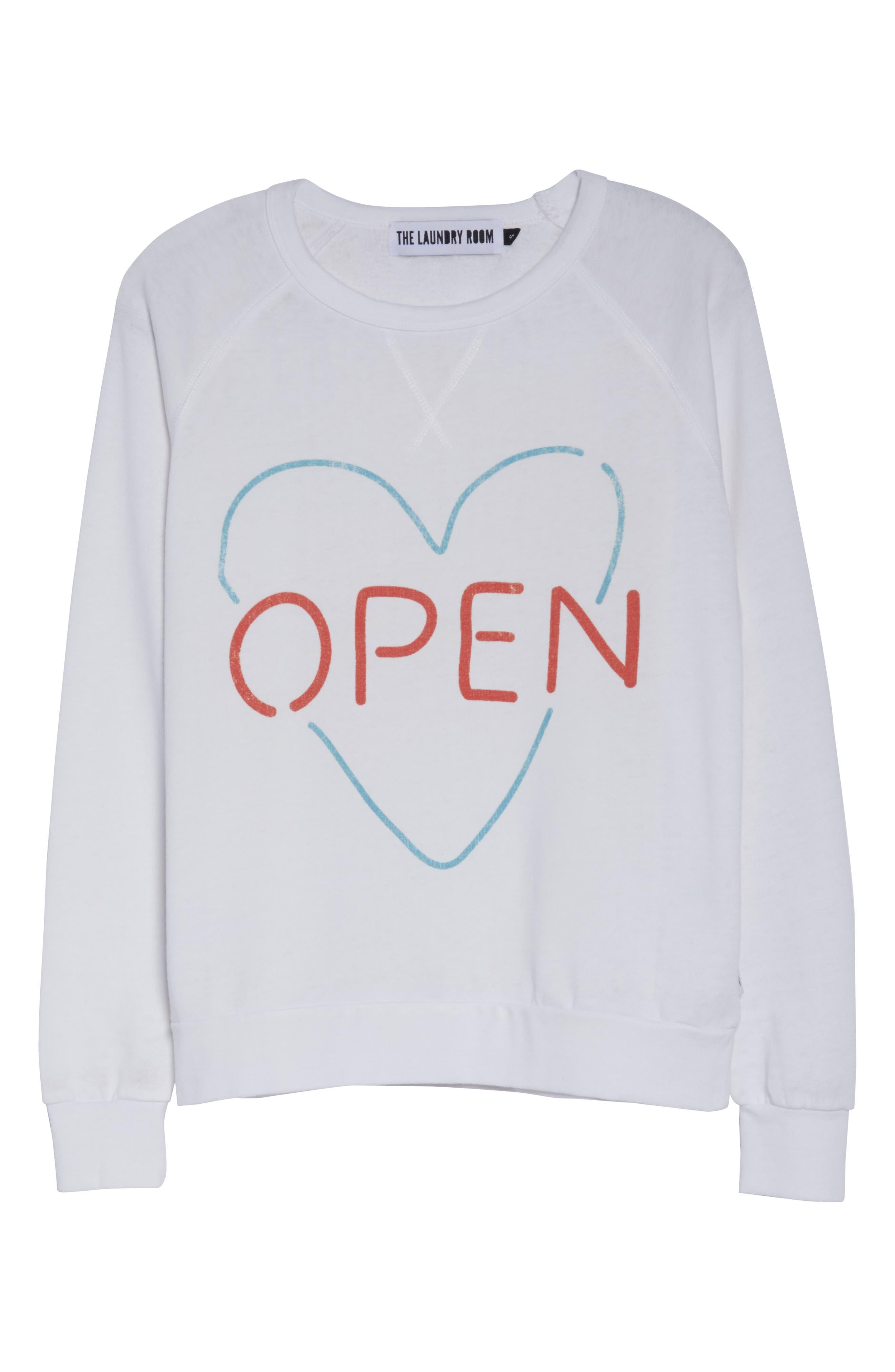 Open Heart Sweatshirt,                             Alternate thumbnail 6, color,                             100