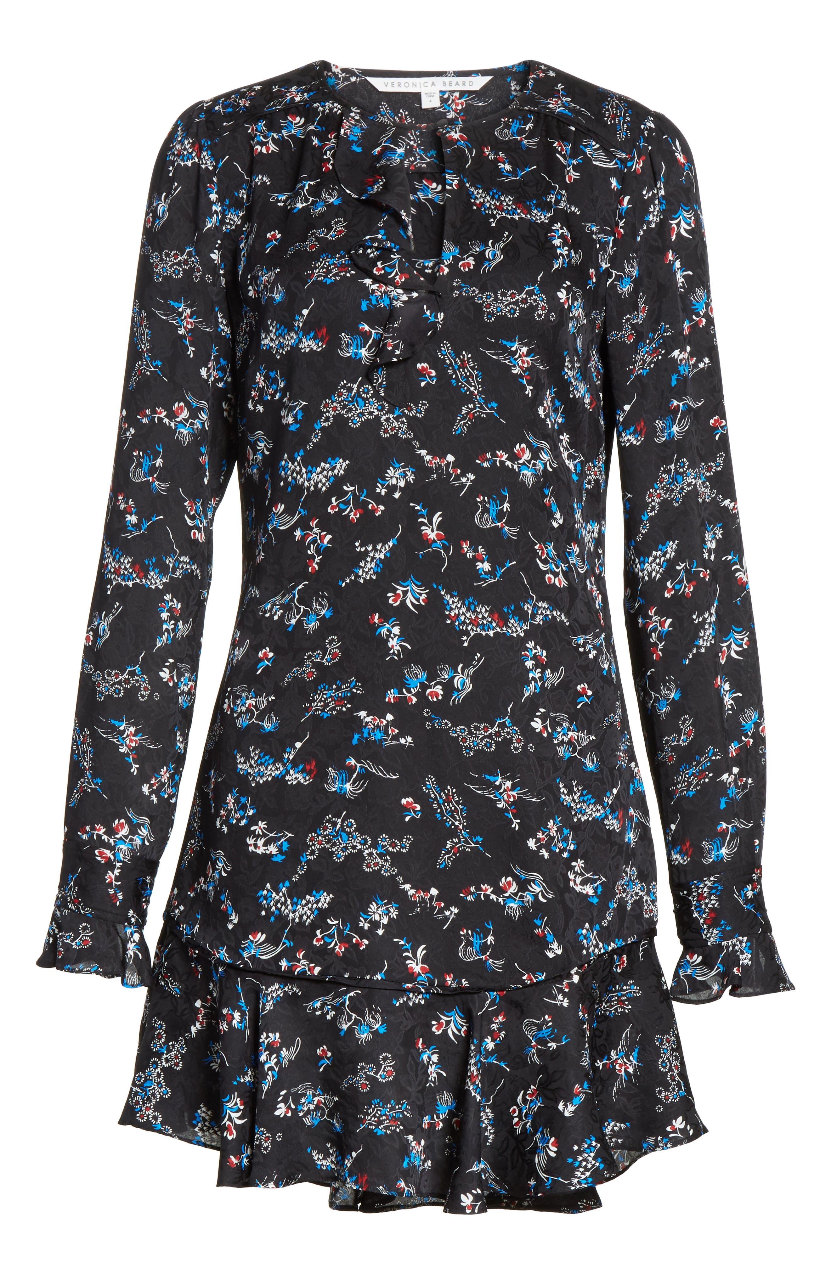Preston Floral Print Silk Dress,                             Alternate thumbnail 6, color,                             001