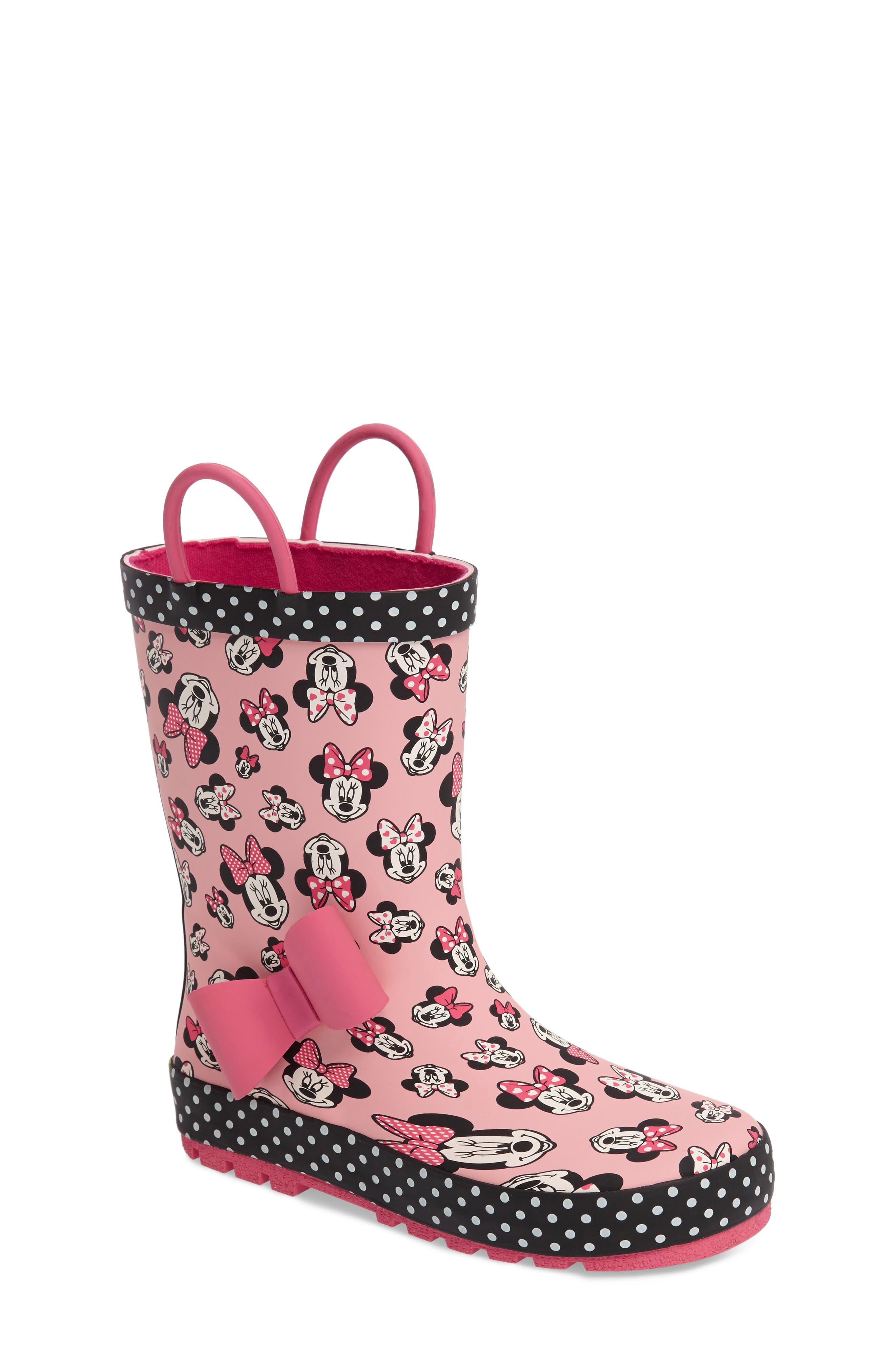 Disney<sup>®</sup> Minnie Mouse Waterproof Rain Boot,                             Main thumbnail 1, color,                             680
