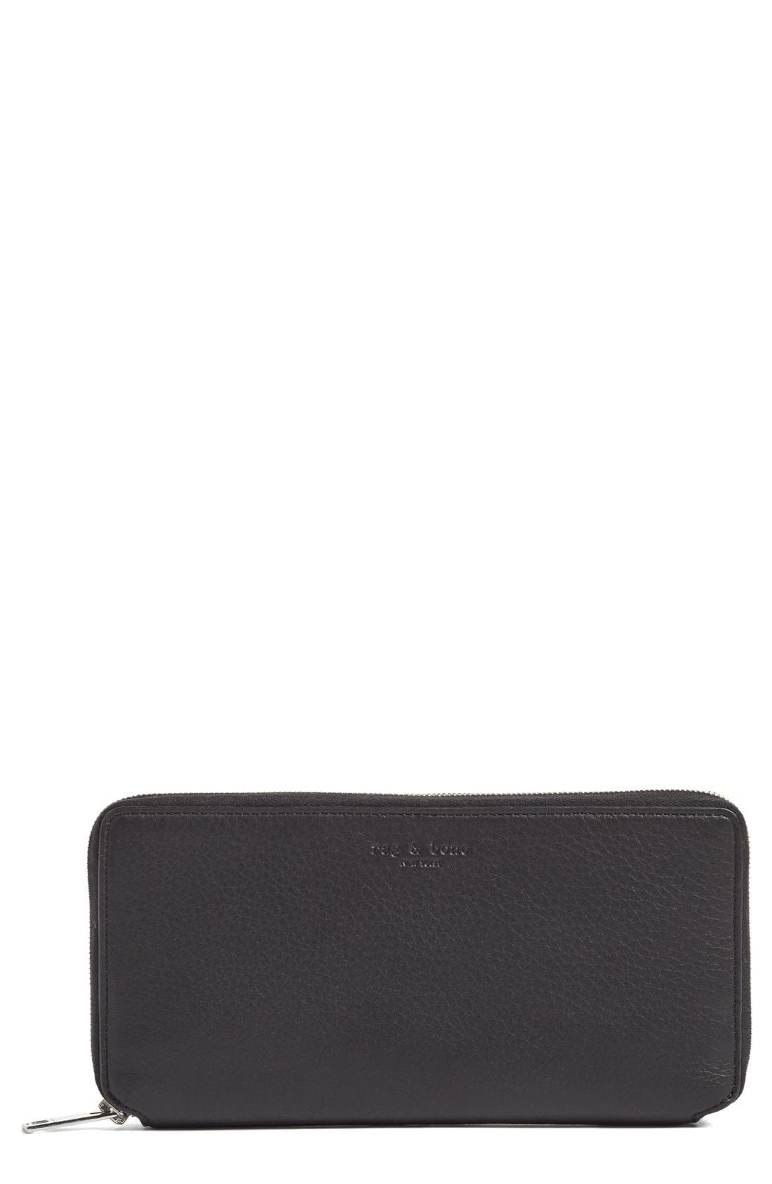 Leather Zip Around Wallet,                             Main thumbnail 1, color,                             BLACK