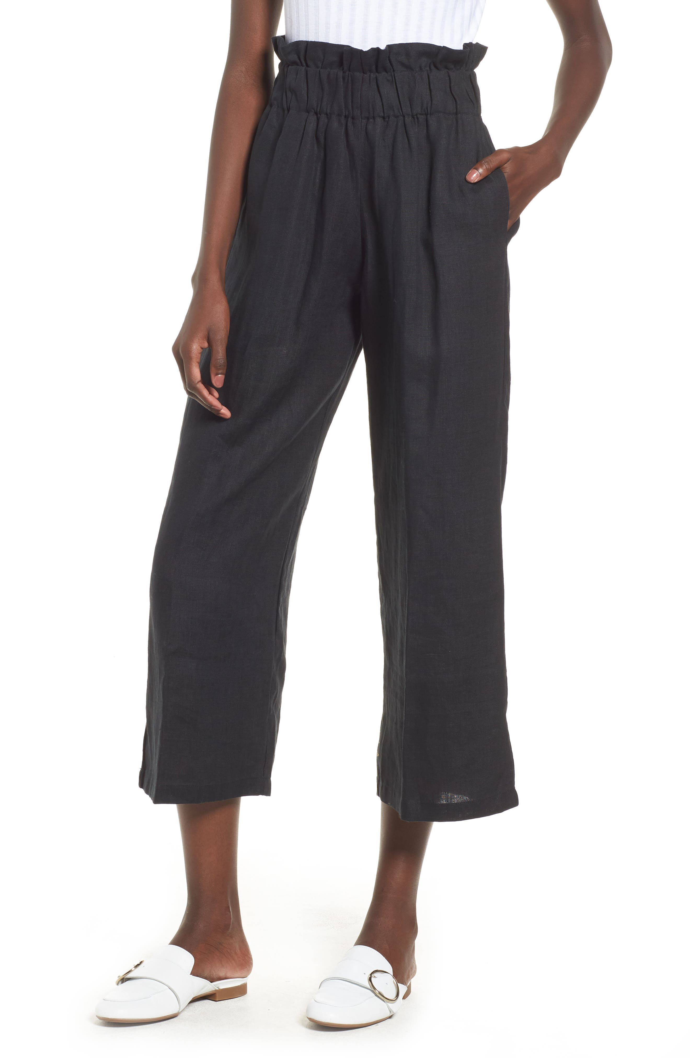 Varadero High Waist Linen Pants,                         Main,                         color, 001