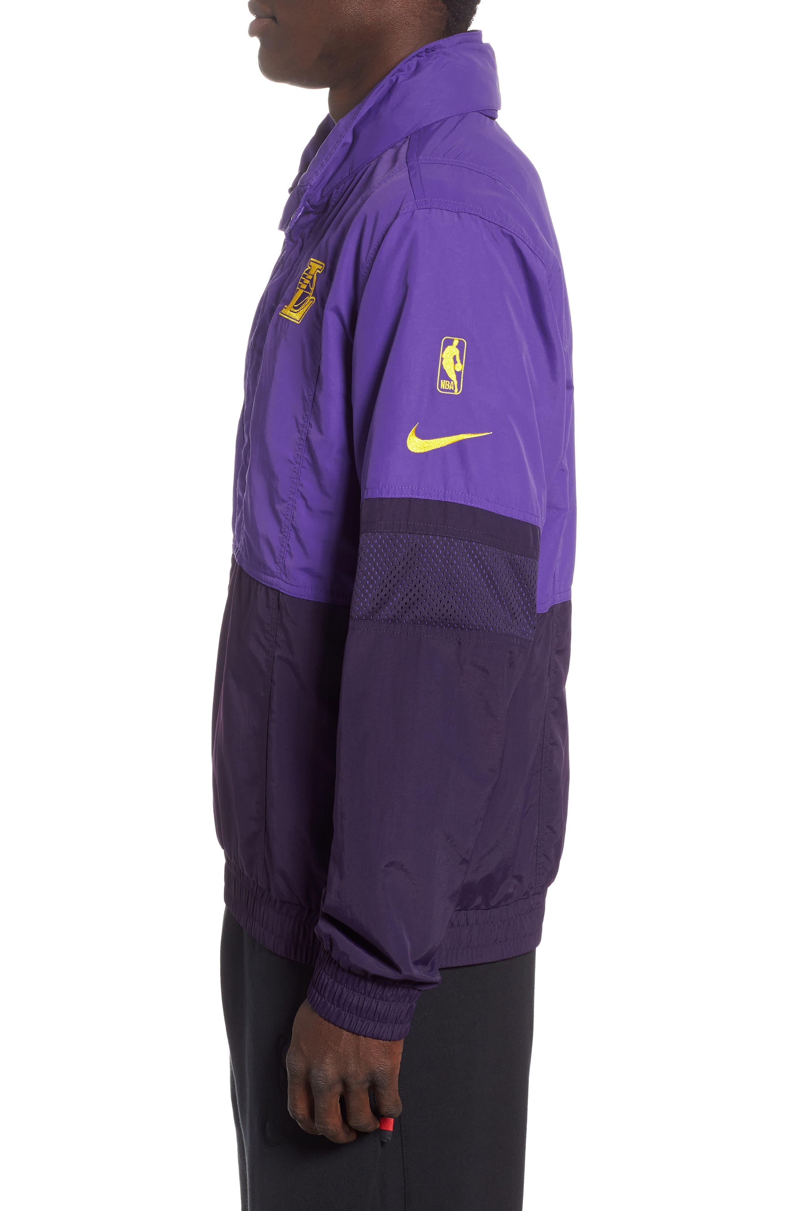 Los Angeles Lakers Courtside Warm-Up Jacket,                             Alternate thumbnail 3, color,                             FIELD PURPLE/PURPLE/ AMARILLO