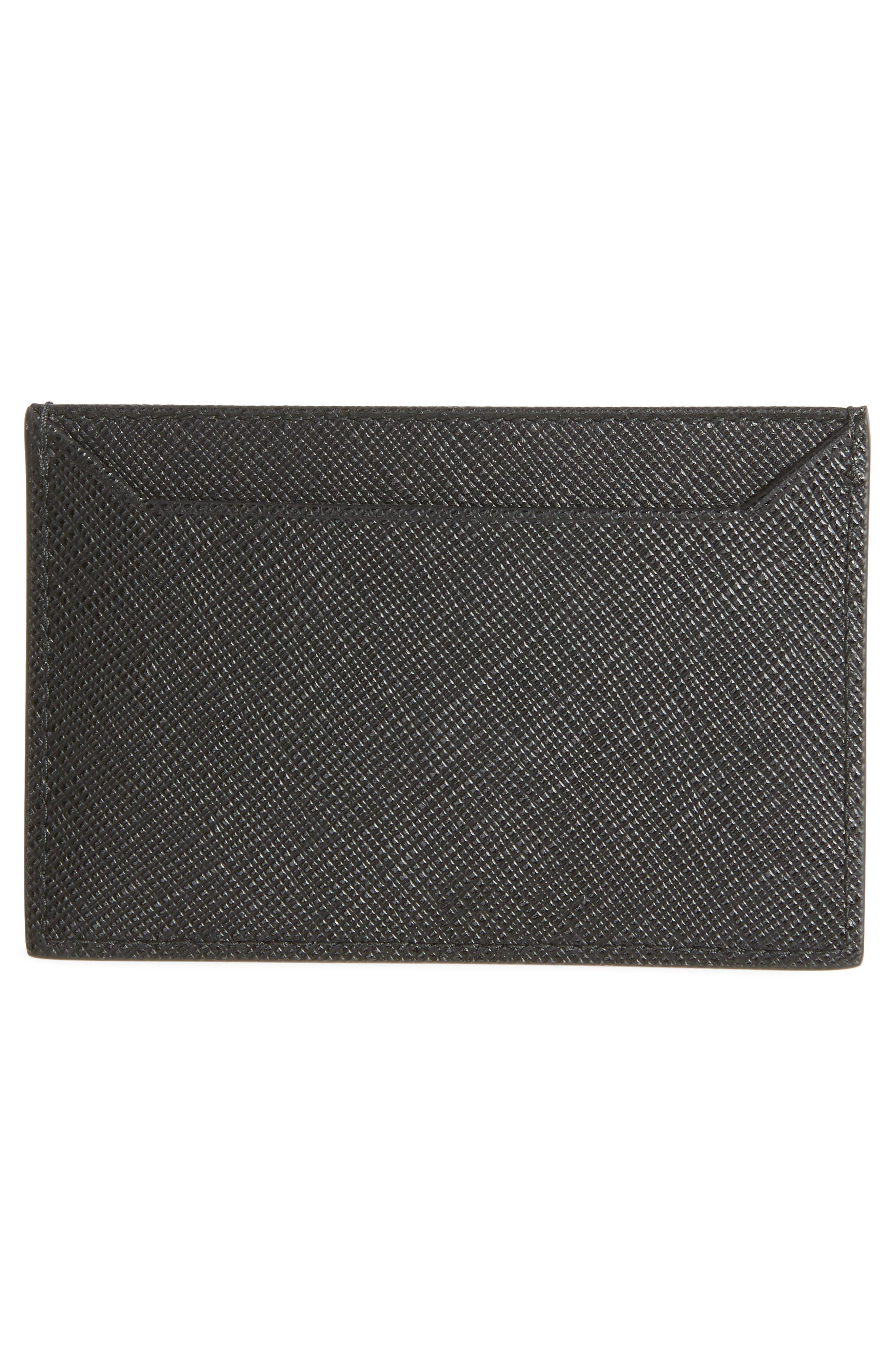 Saffiano Metal Oro Calfskin Leather Card Case,                             Alternate thumbnail 2, color,                             NERO