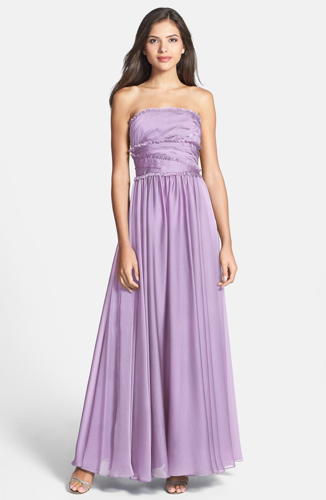 ML Monique Lhuillier Bridesmaids Strapless Chiffon Gown,                             Main thumbnail 14, color,