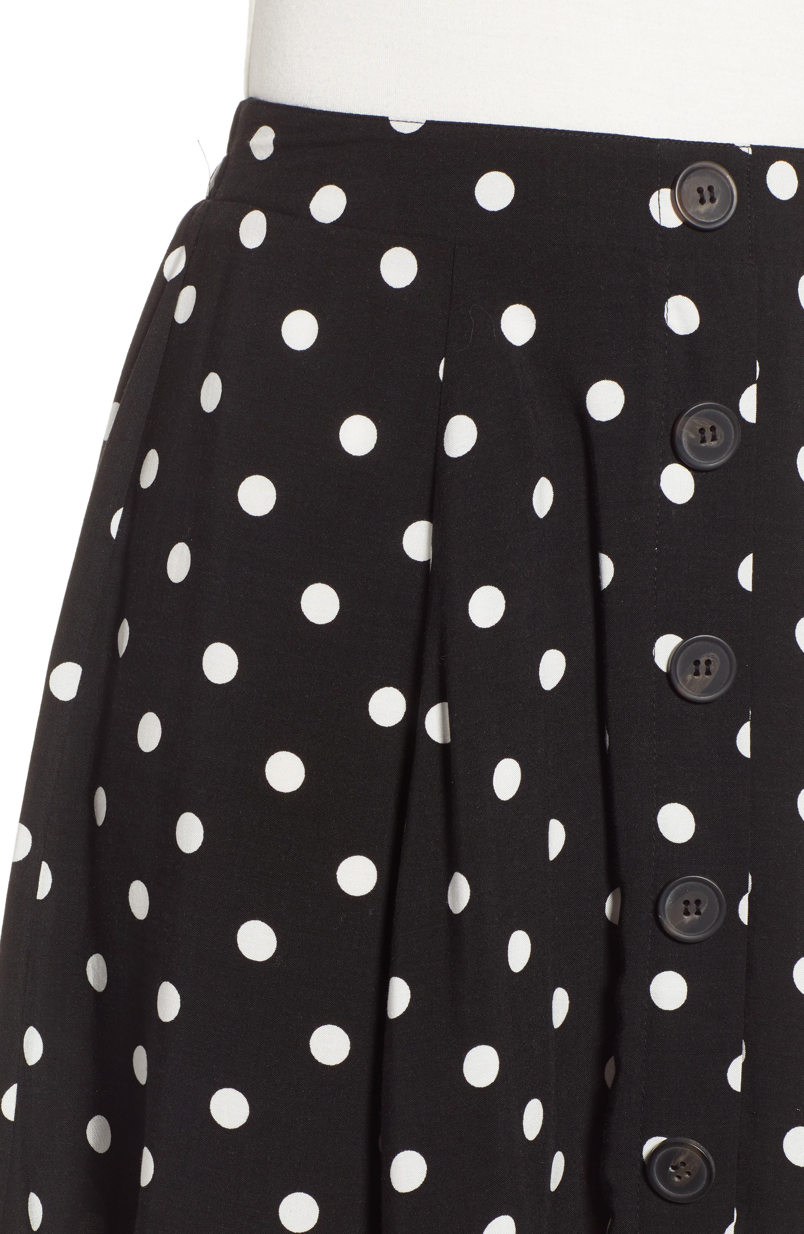 Button Front Skirt,                             Alternate thumbnail 4, color,                             BLACK DOT
