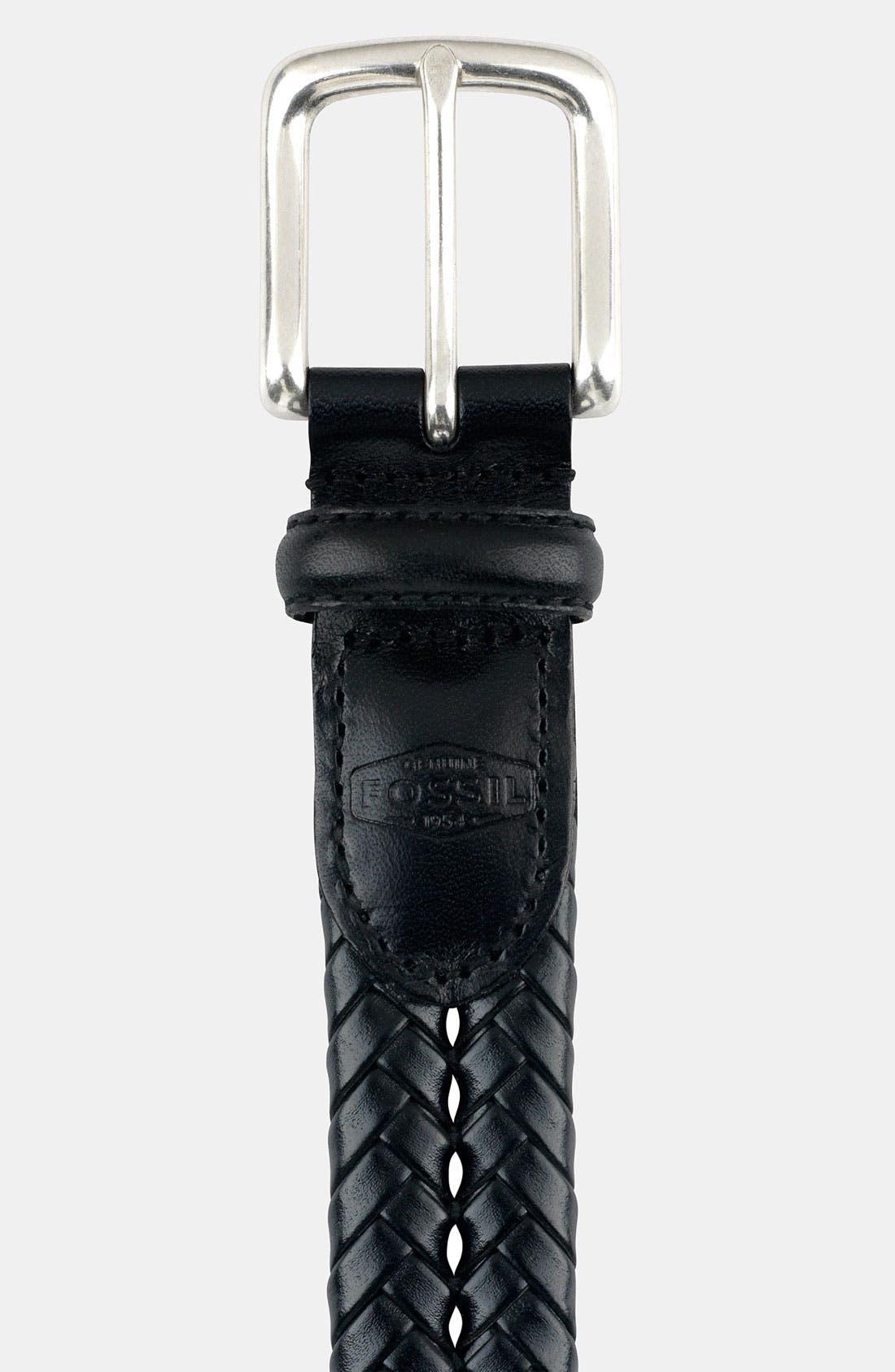 'Maddox' Leather Braid Belt, Main, color, BLACK