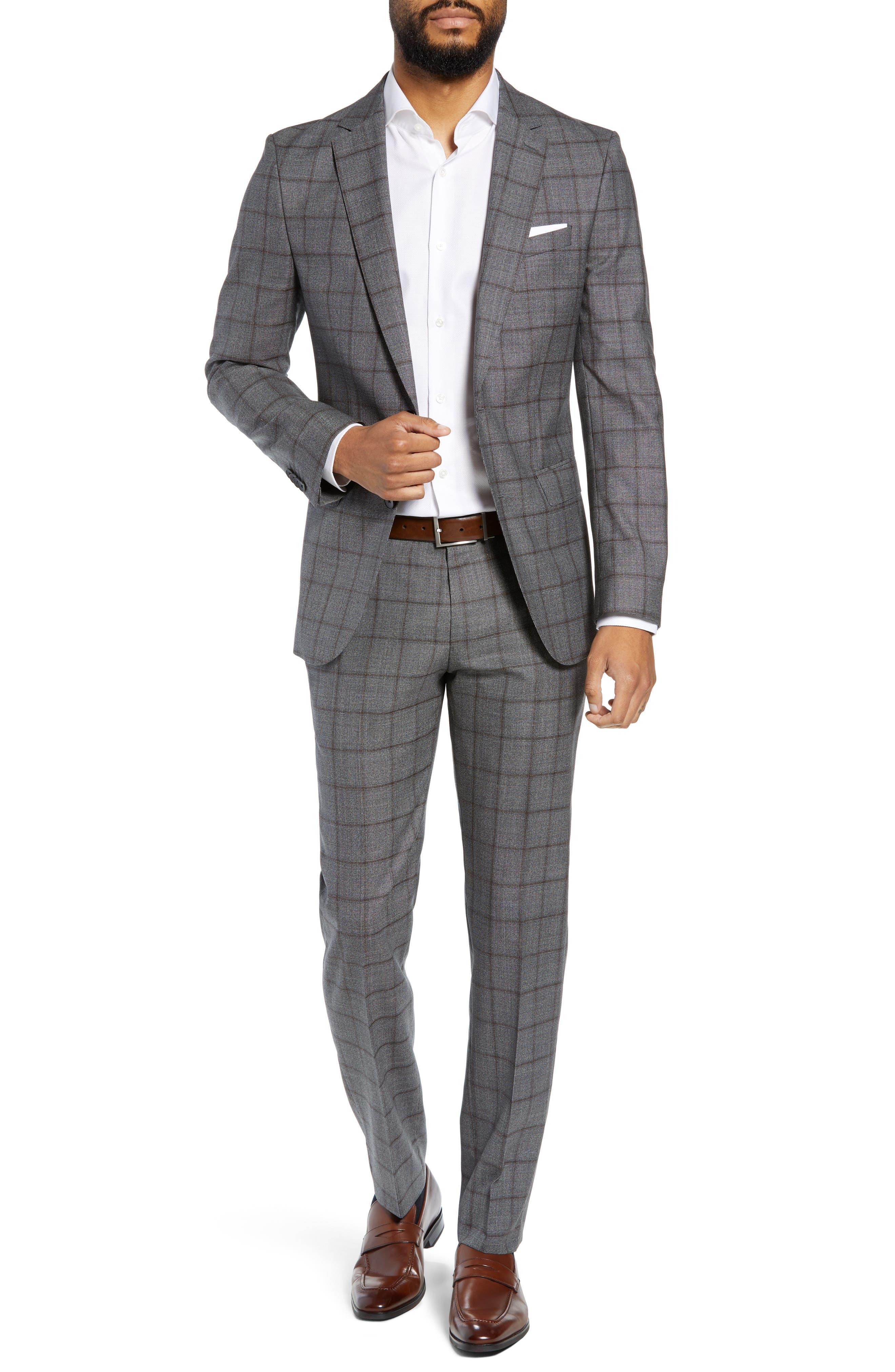 Novan/Ben Trim Fit Windowpane Wool Suit,                         Main,                         color, OPEN GREY