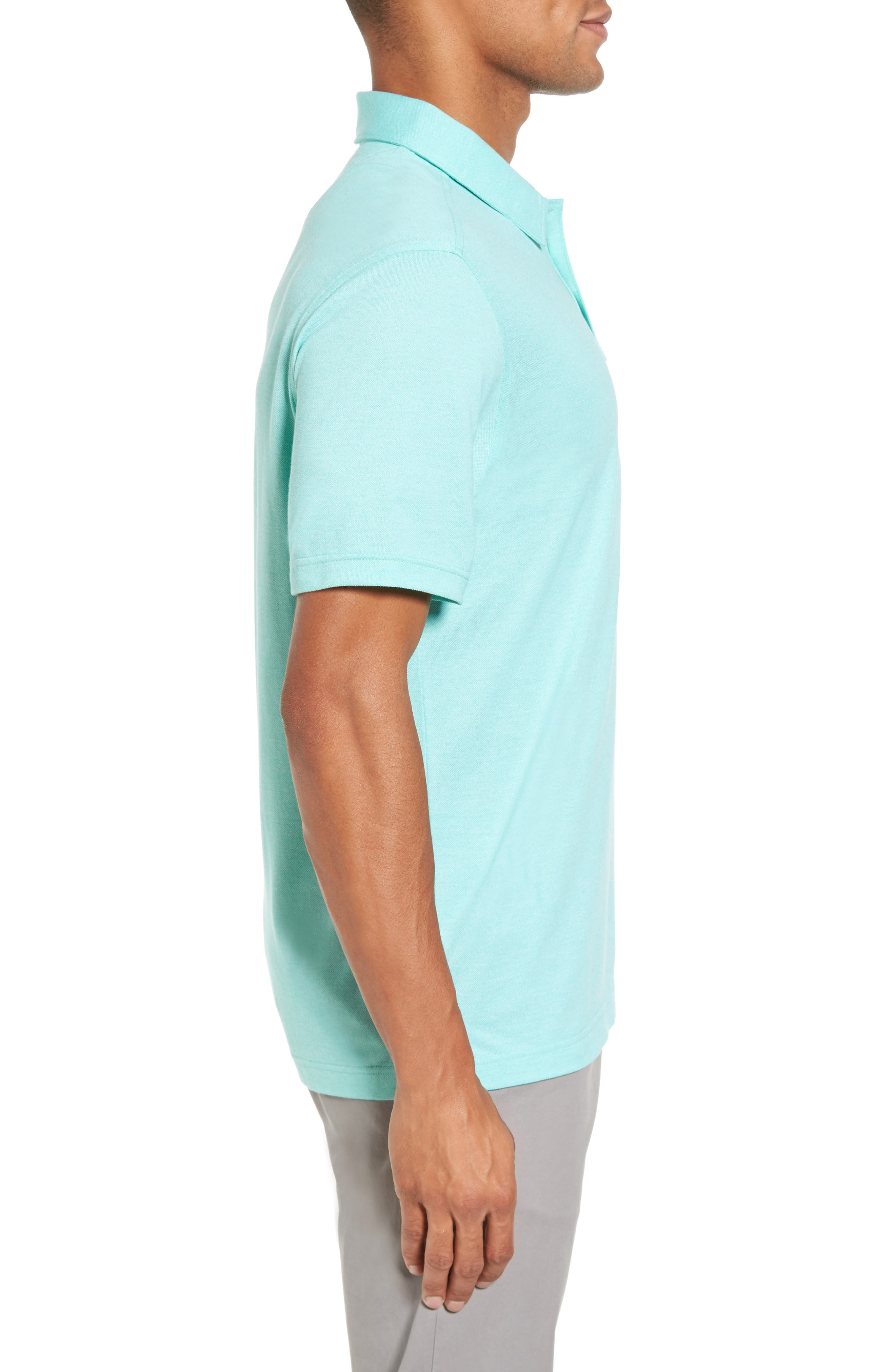 Regular Fit Polo,                             Alternate thumbnail 3, color,                             TEAL GLOSS