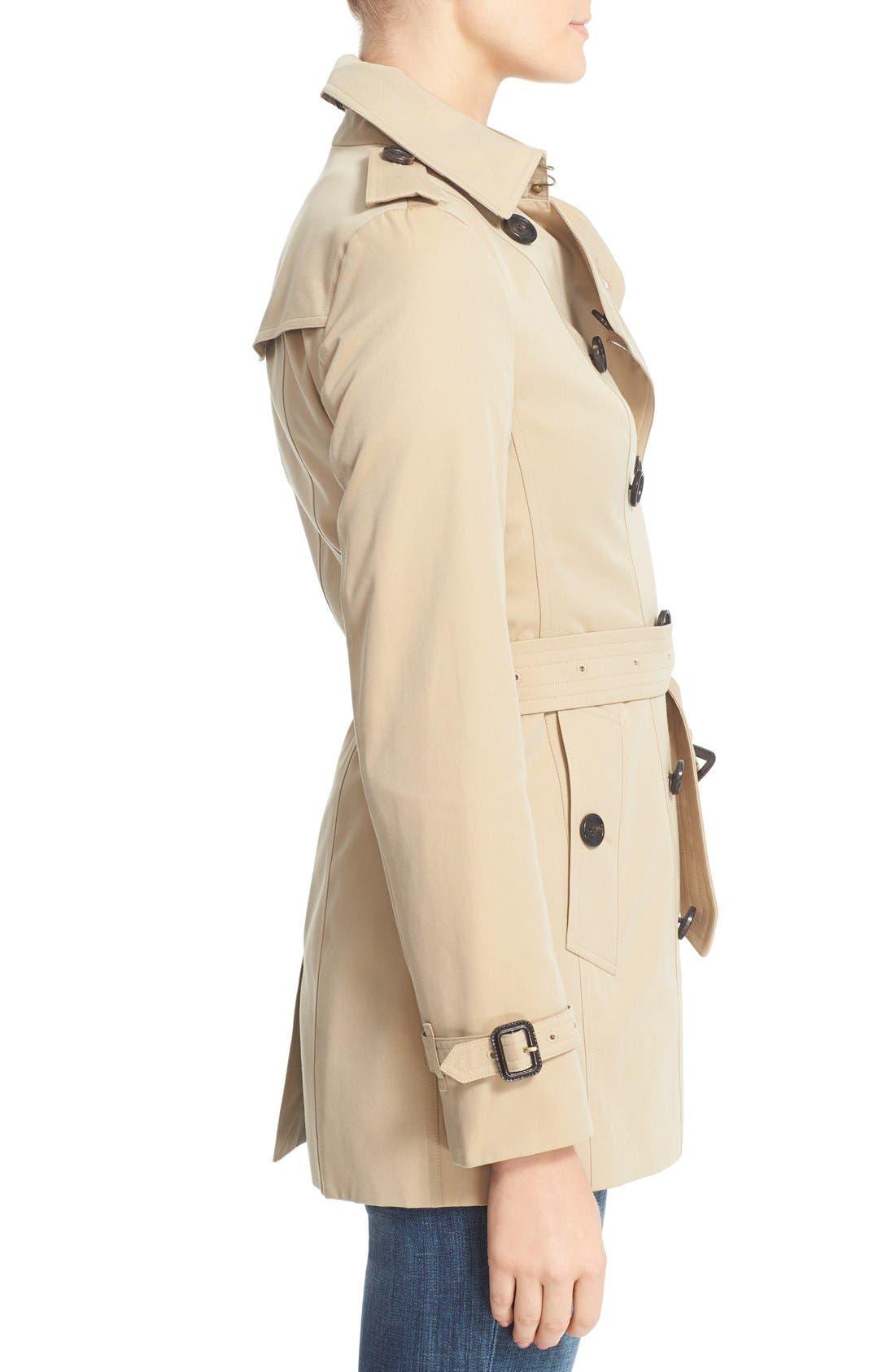 BURBERRY,                             Sandringham Short Slim Trench Coat,                             Alternate thumbnail 7, color,                             HONEY