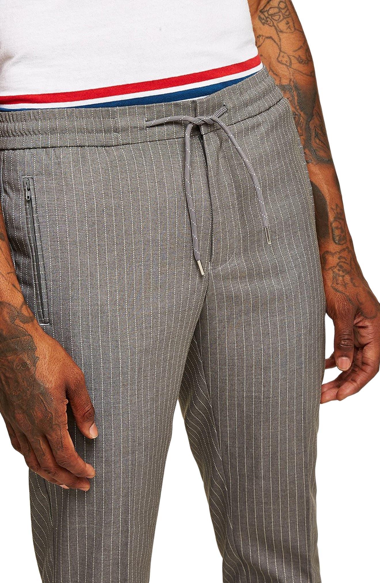 Pinstripe Jogger Pants,                             Alternate thumbnail 3, color,                             GREY