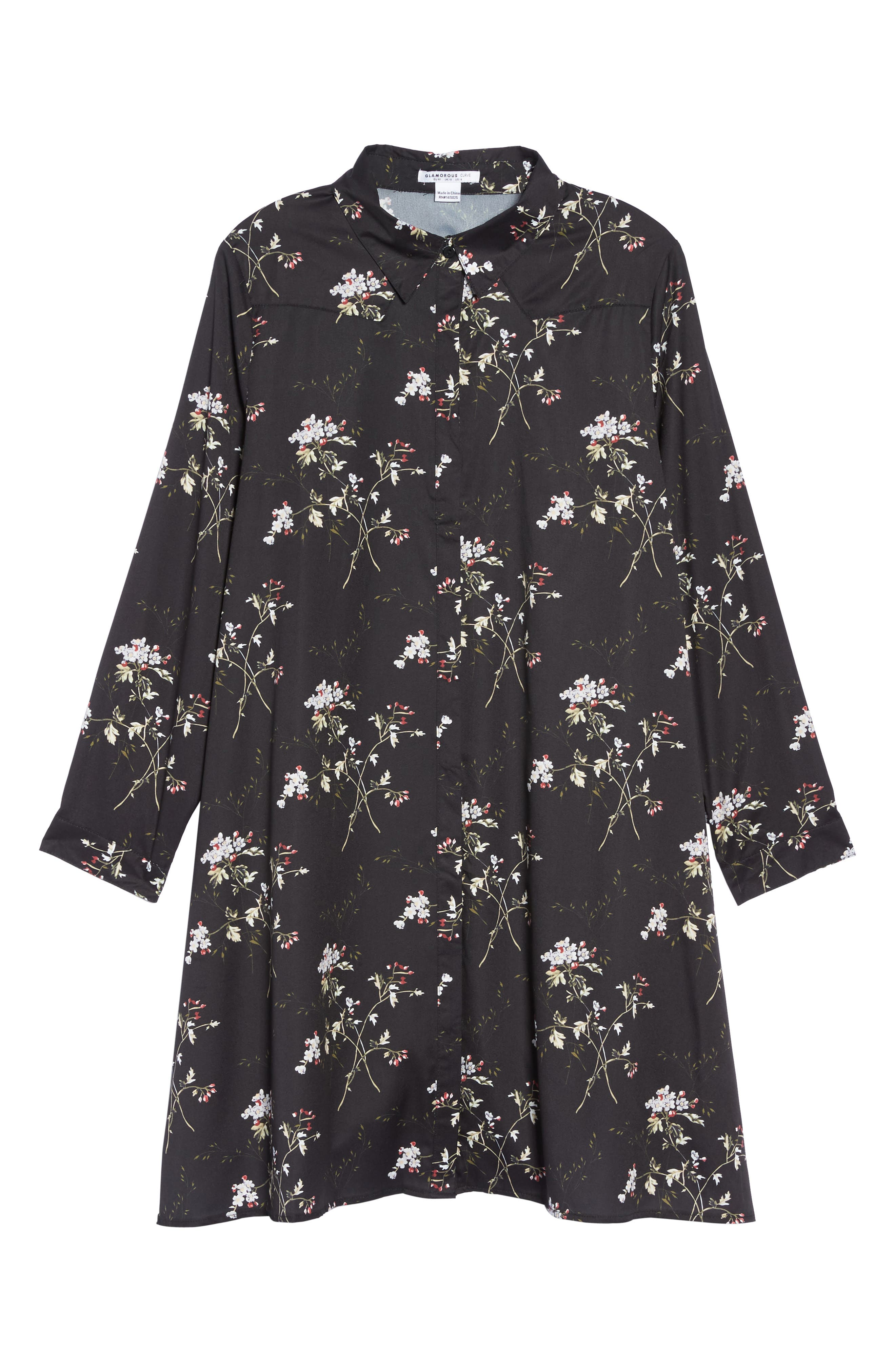 Floral Print Shirtdress,                             Alternate thumbnail 6, color,