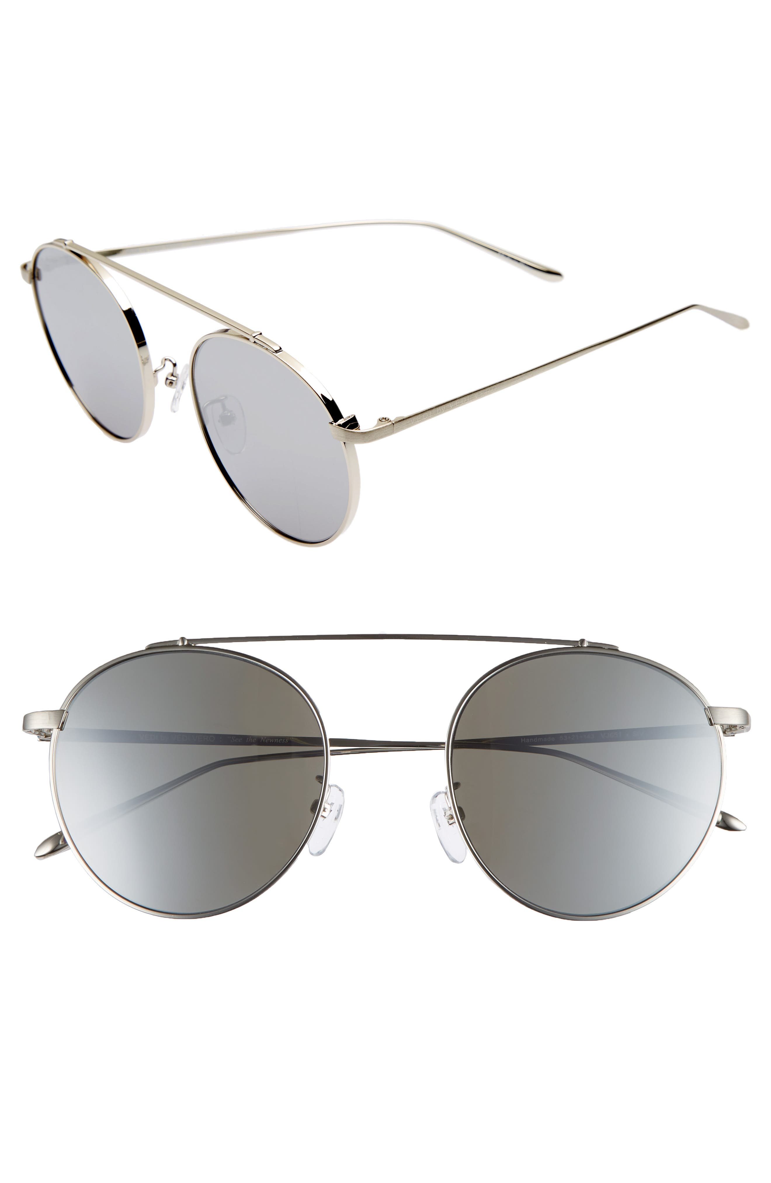 53mm Round Sunglasses,                         Main,                         color, ROSE GOLD/PINK MIRROR
