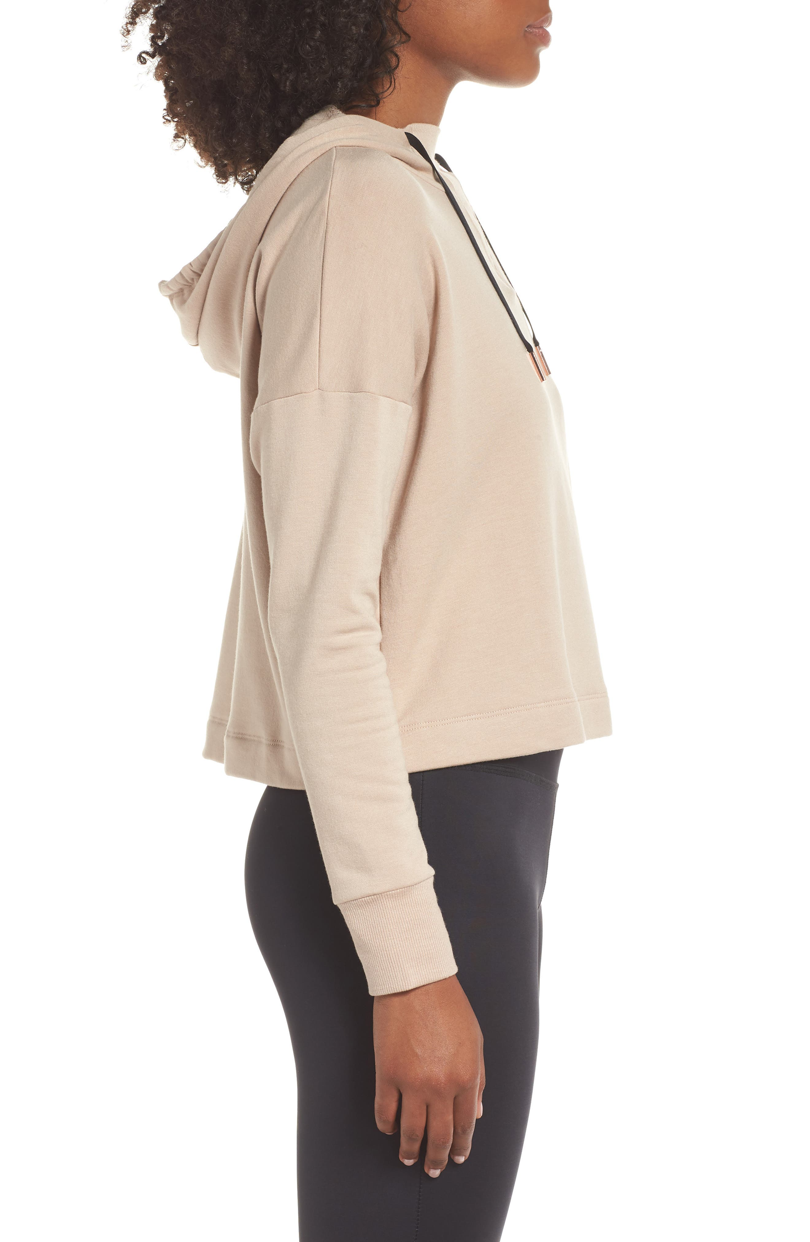 Sedona Cropped Hoodie,                             Alternate thumbnail 3, color,                             TEXAS TAUPE