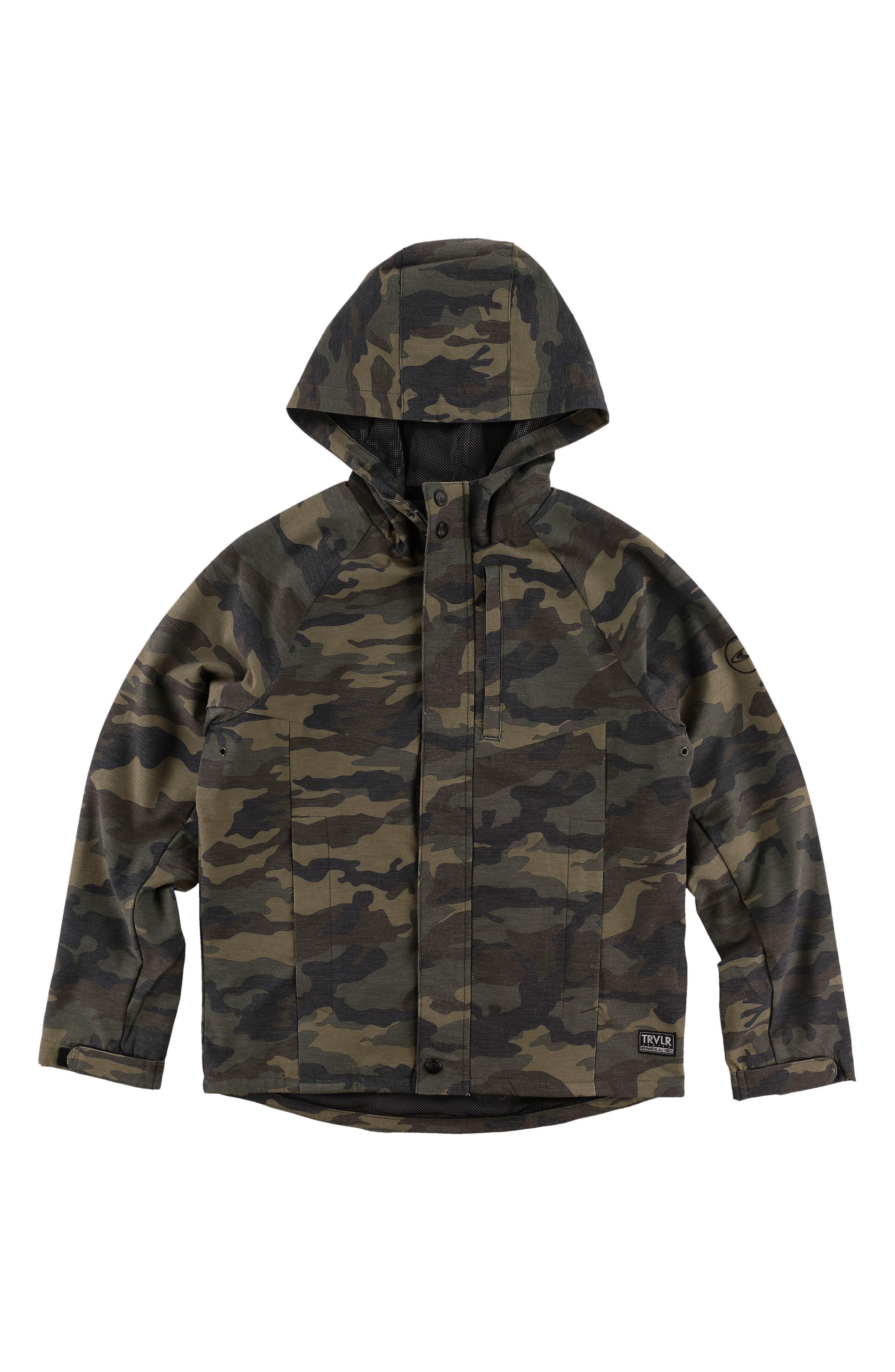 Traveler Dawn Patrol Camo Hooded Windbreaker Jacket,                         Main,                         color, 310