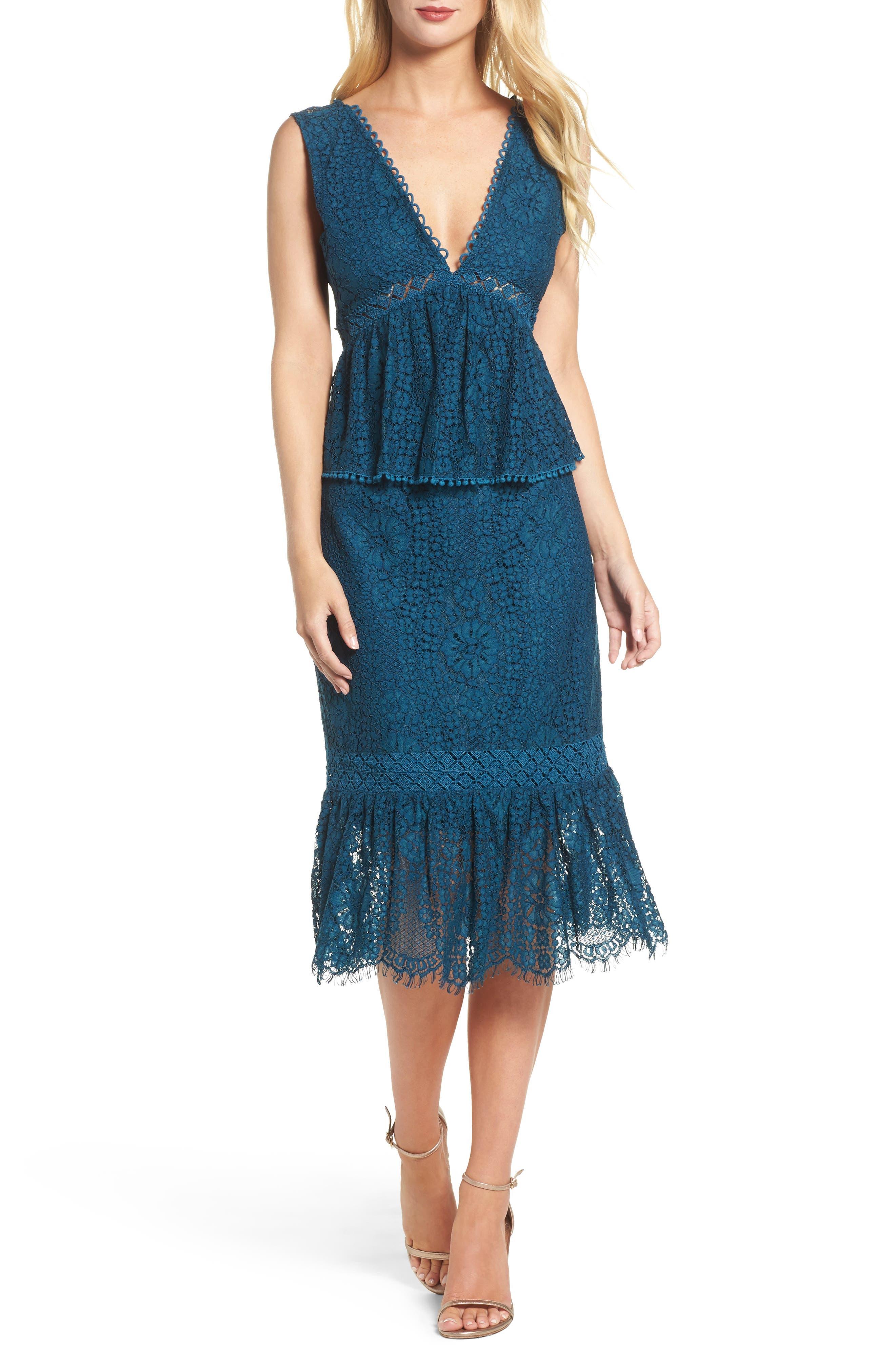 Emilia Lace Peplum Midi Dress,                         Main,                         color, 404
