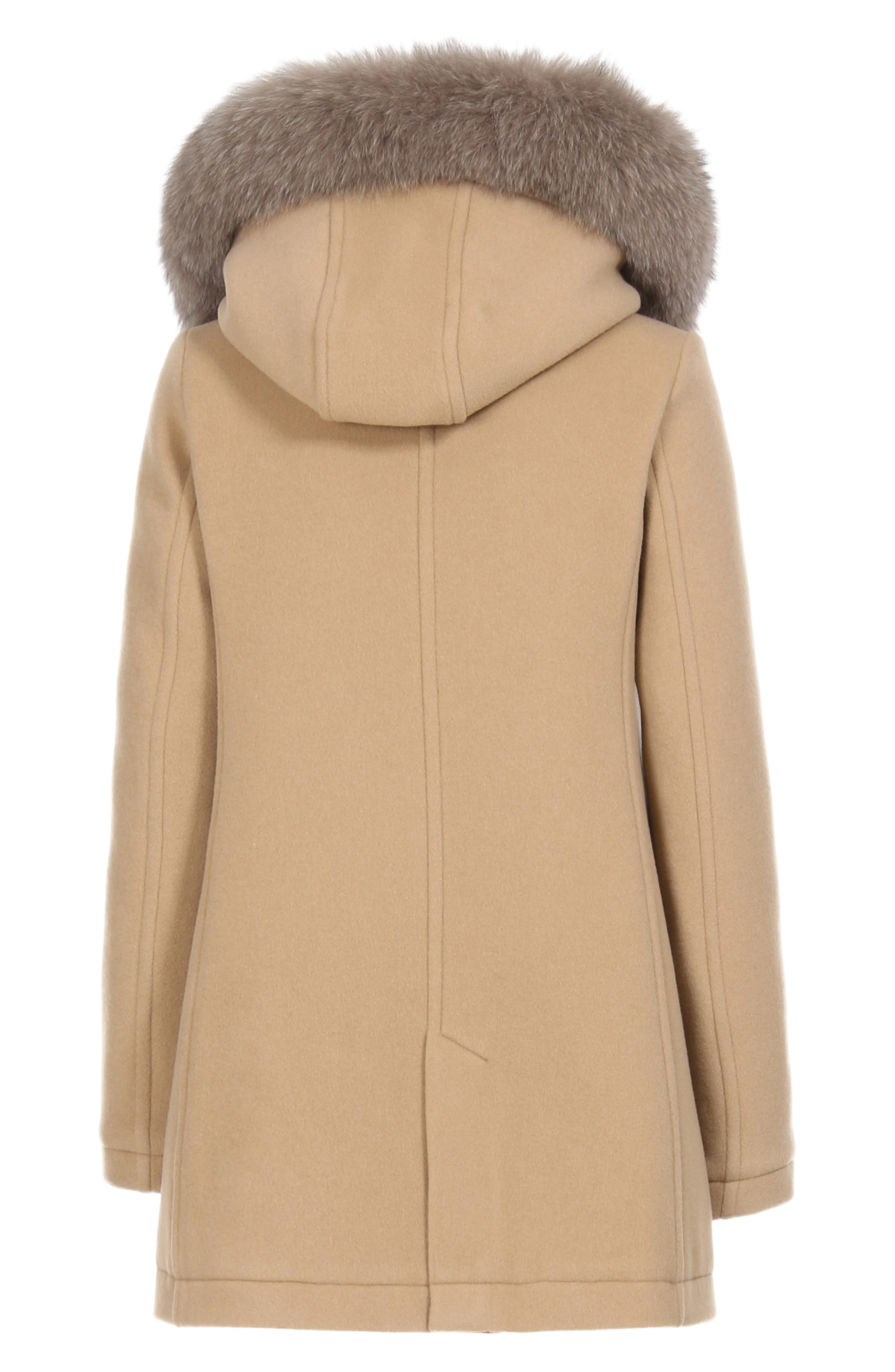 McKenzie Coat with Genuine Fox Fur Trim,                             Alternate thumbnail 8, color,                             CAMEL