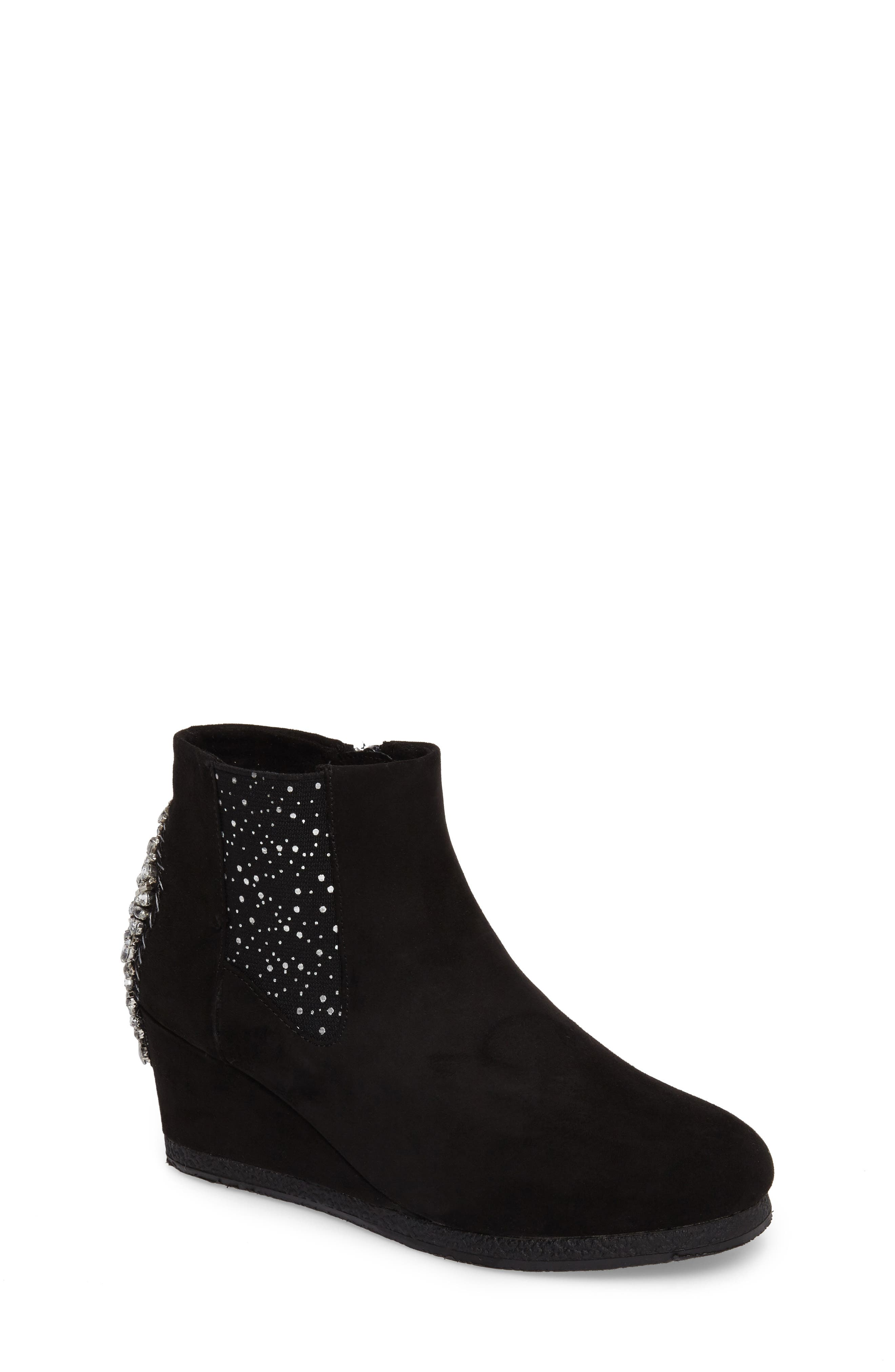Andrea Kiara Embellished Wedge Bootie,                         Main,                         color, 001