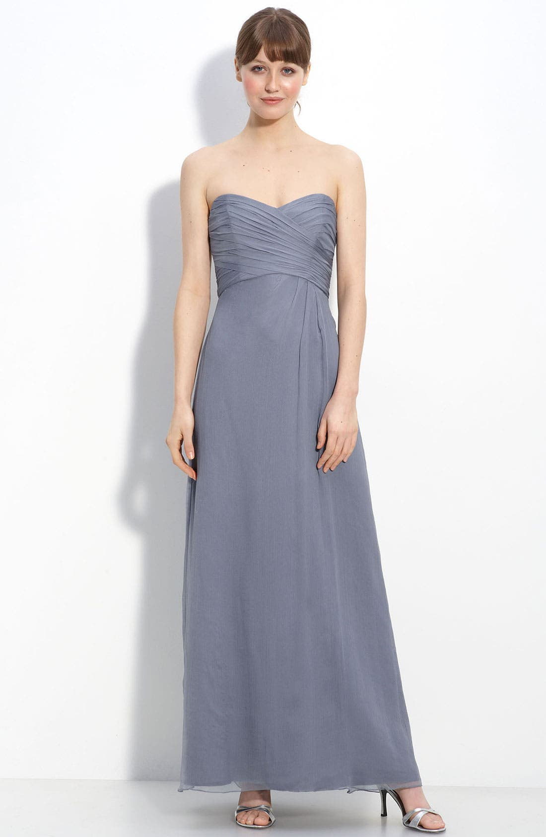 Strapless Crinkle Chiffon Gown,                             Main thumbnail 6, color,