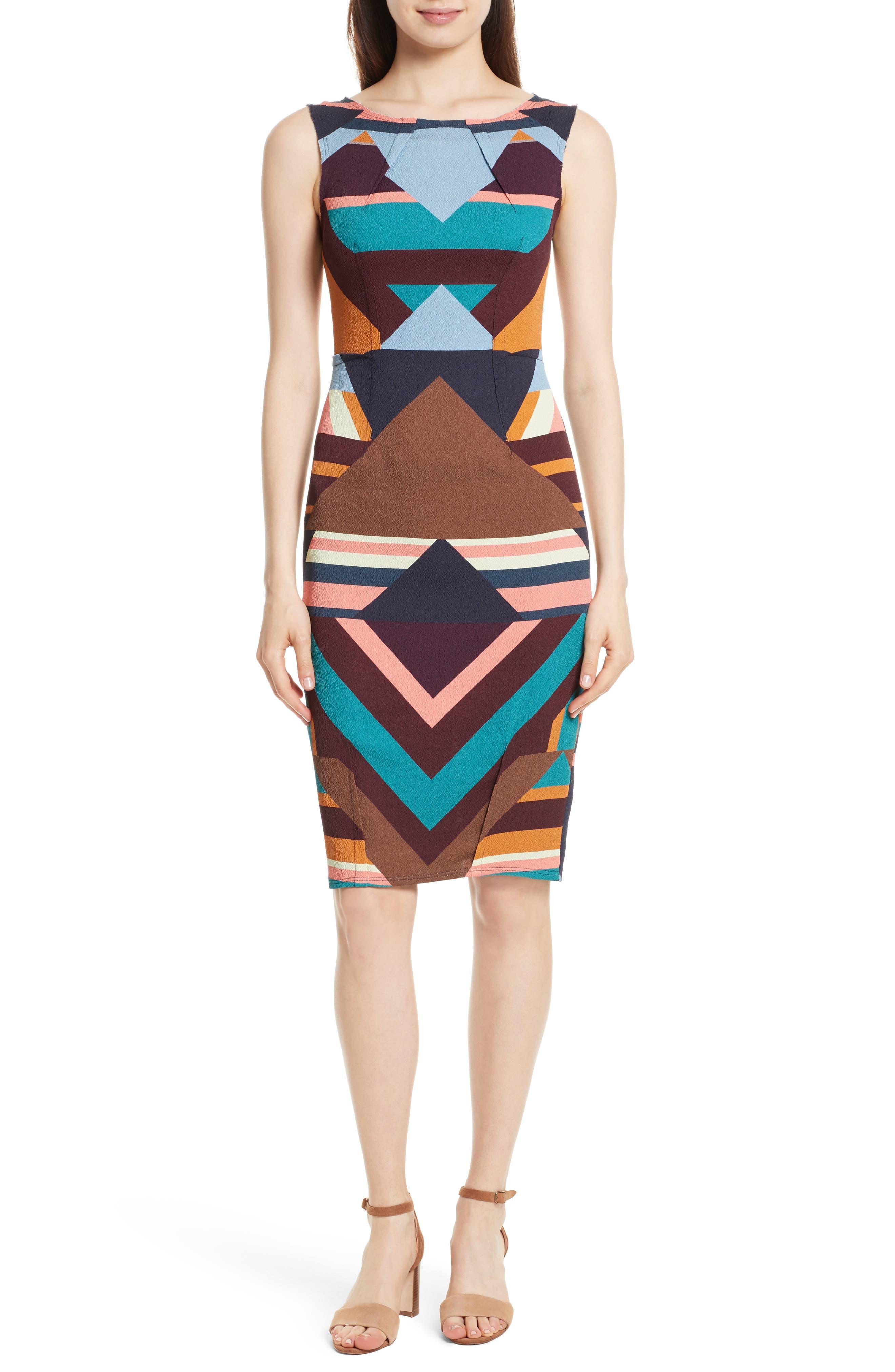Print Stretch Silk Sheath Dress,                             Main thumbnail 1, color,                             244