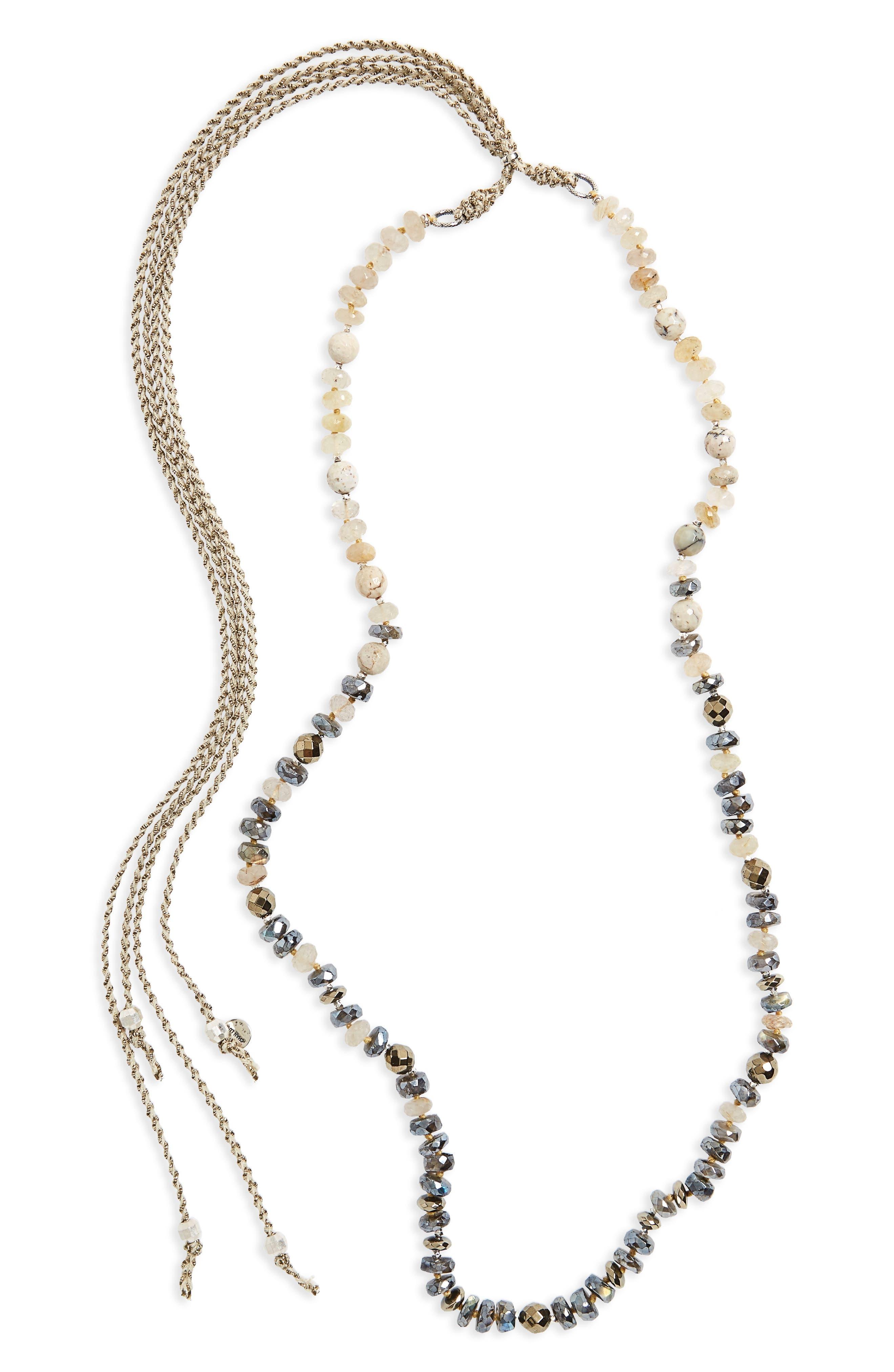 Semiprecious Stone Adjustable Necklace,                         Main,                         color, 040
