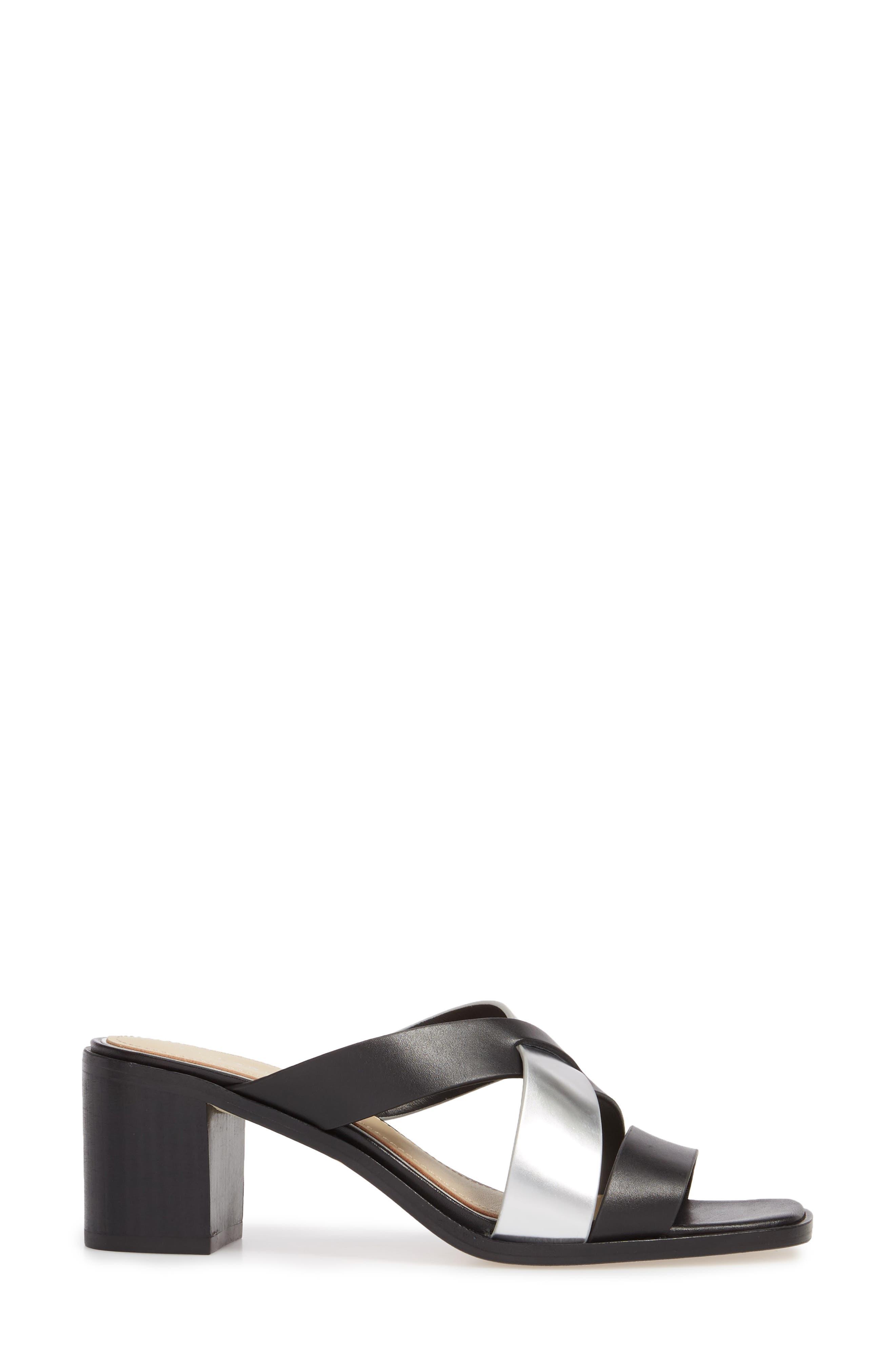 Negroni Cross Strap Mule Sandal,                             Alternate thumbnail 3, color,                             BLACK/ SILVER LEATHER