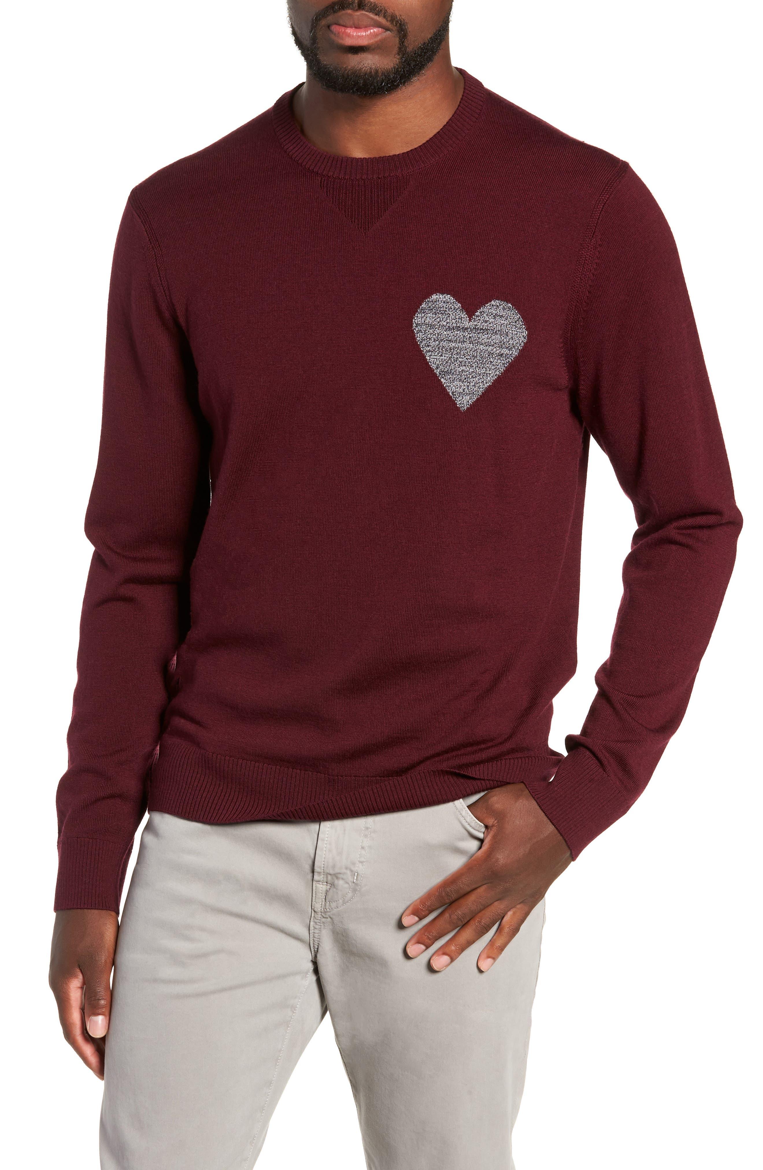 Heart Intarsia Regular Fit Merino Wool Sweater,                         Main,                         color, BEETROOT